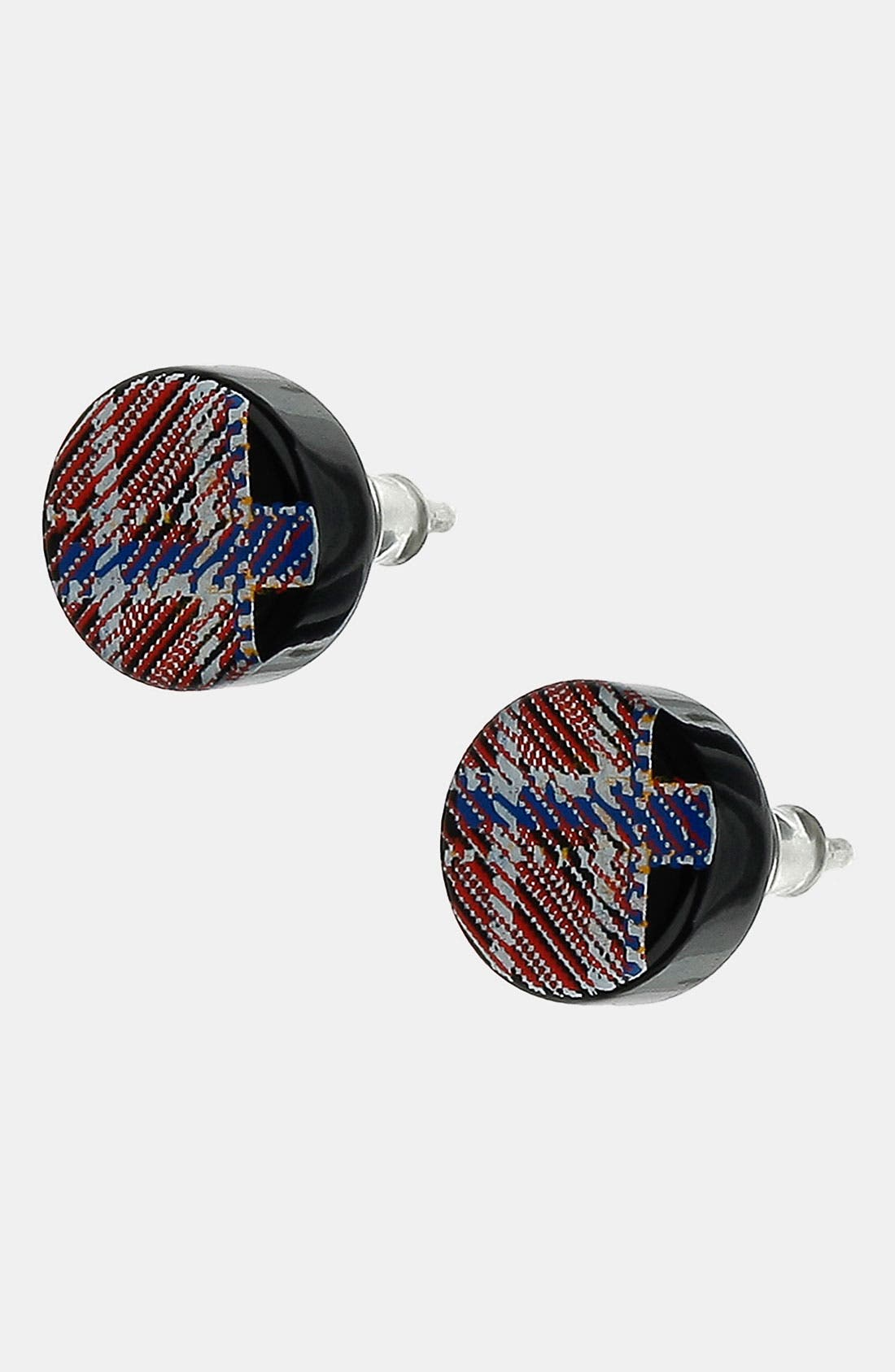 Main Image - Topman Tartan Print Stud Earrings