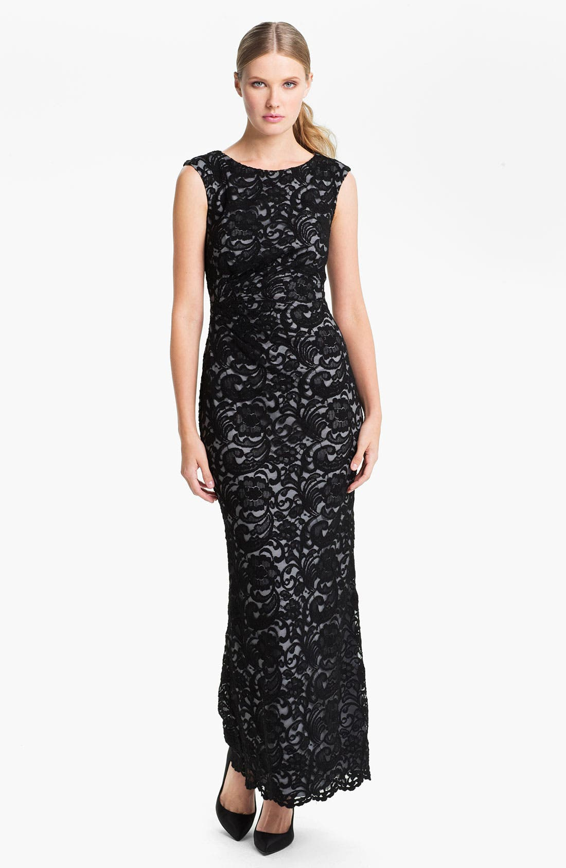 Main Image - Xscape Back Cutout Lace Column Gown