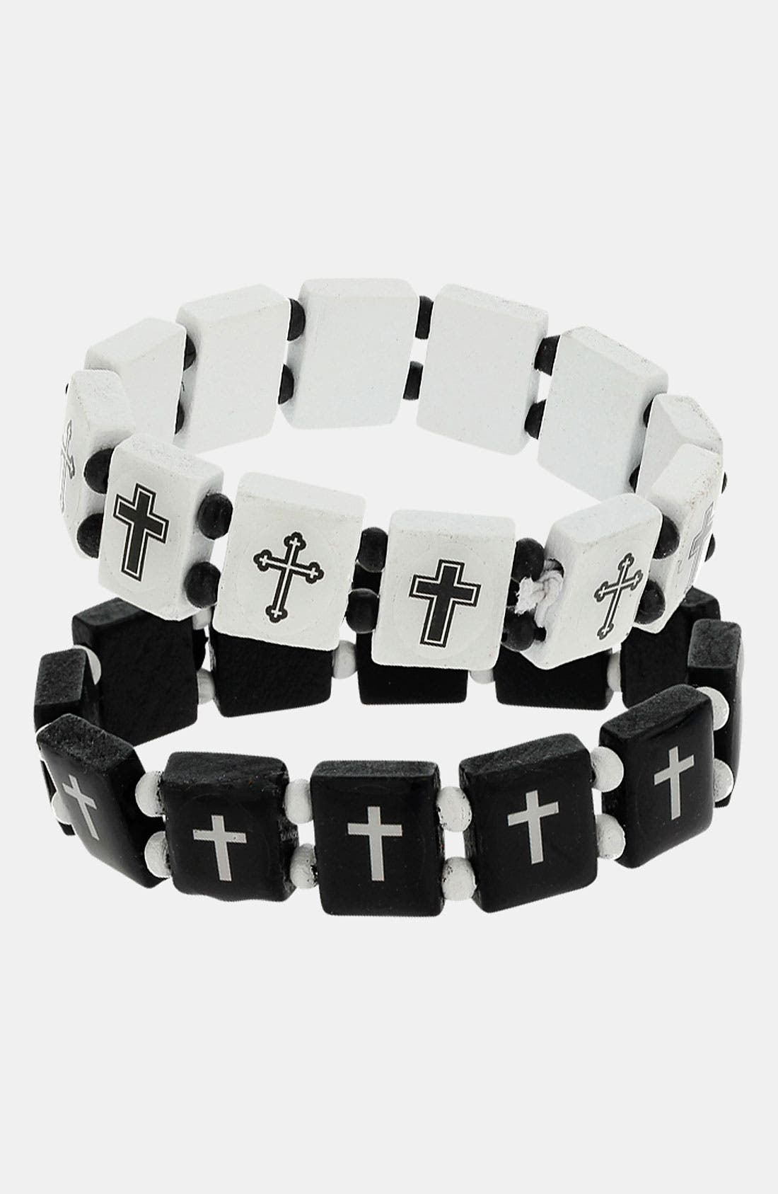 Main Image - Topman 'Cross Picture' Beaded Stretch Bracelets (Set of 2)