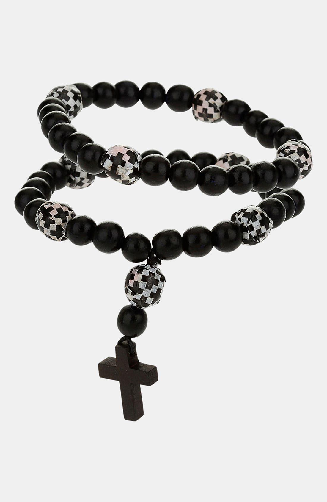 Main Image - Topman Wood Bead Rosary Bracelet