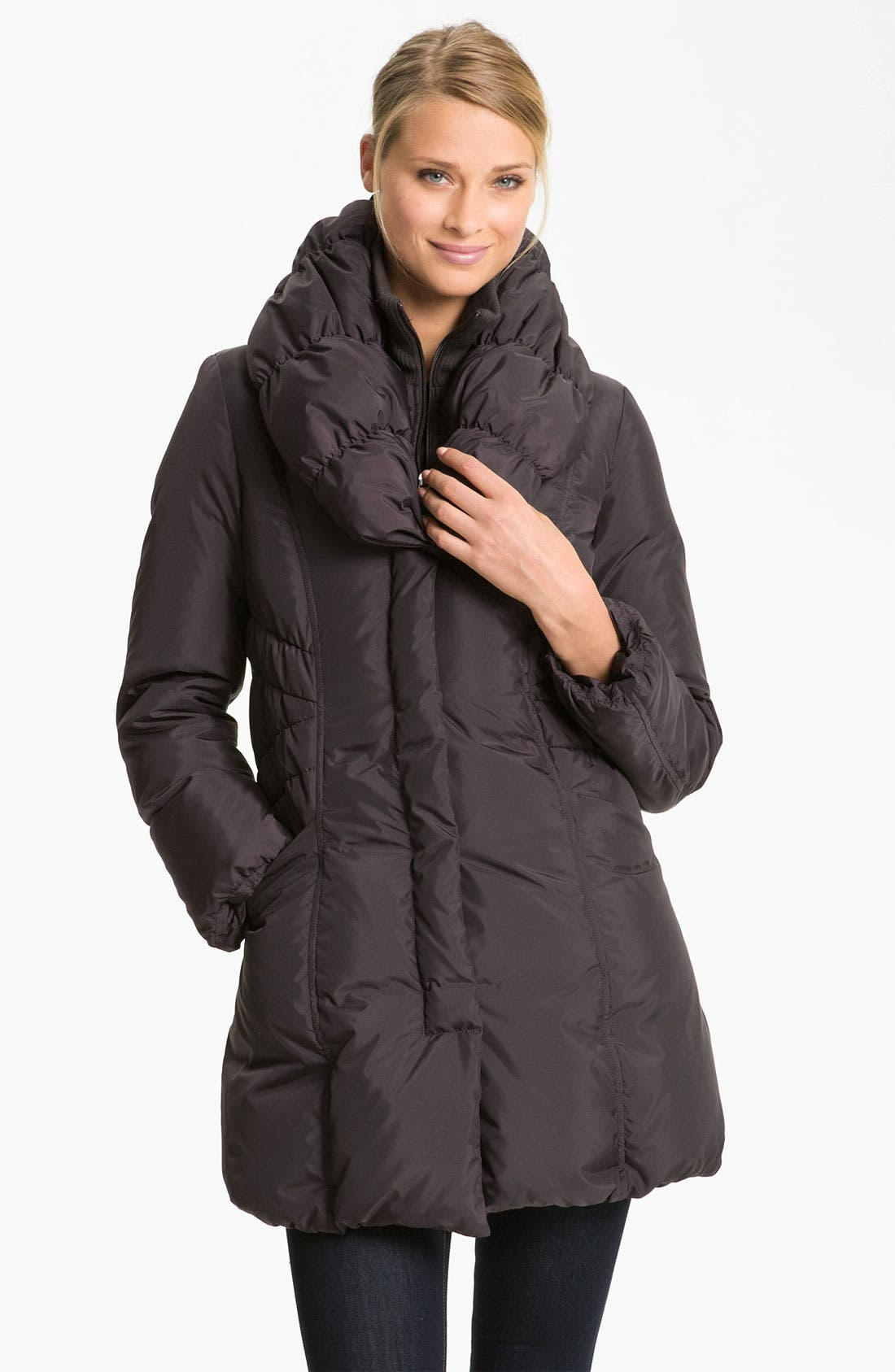 Main Image - Tahari 'Adelle' Pillow Collar Coat (Nordstrom Exclusive)