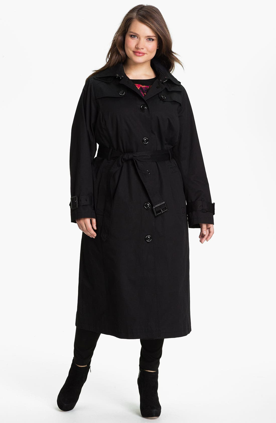 Main Image - London Fog Long Trench Raincoat with Liner (Plus Size) (Online Only)