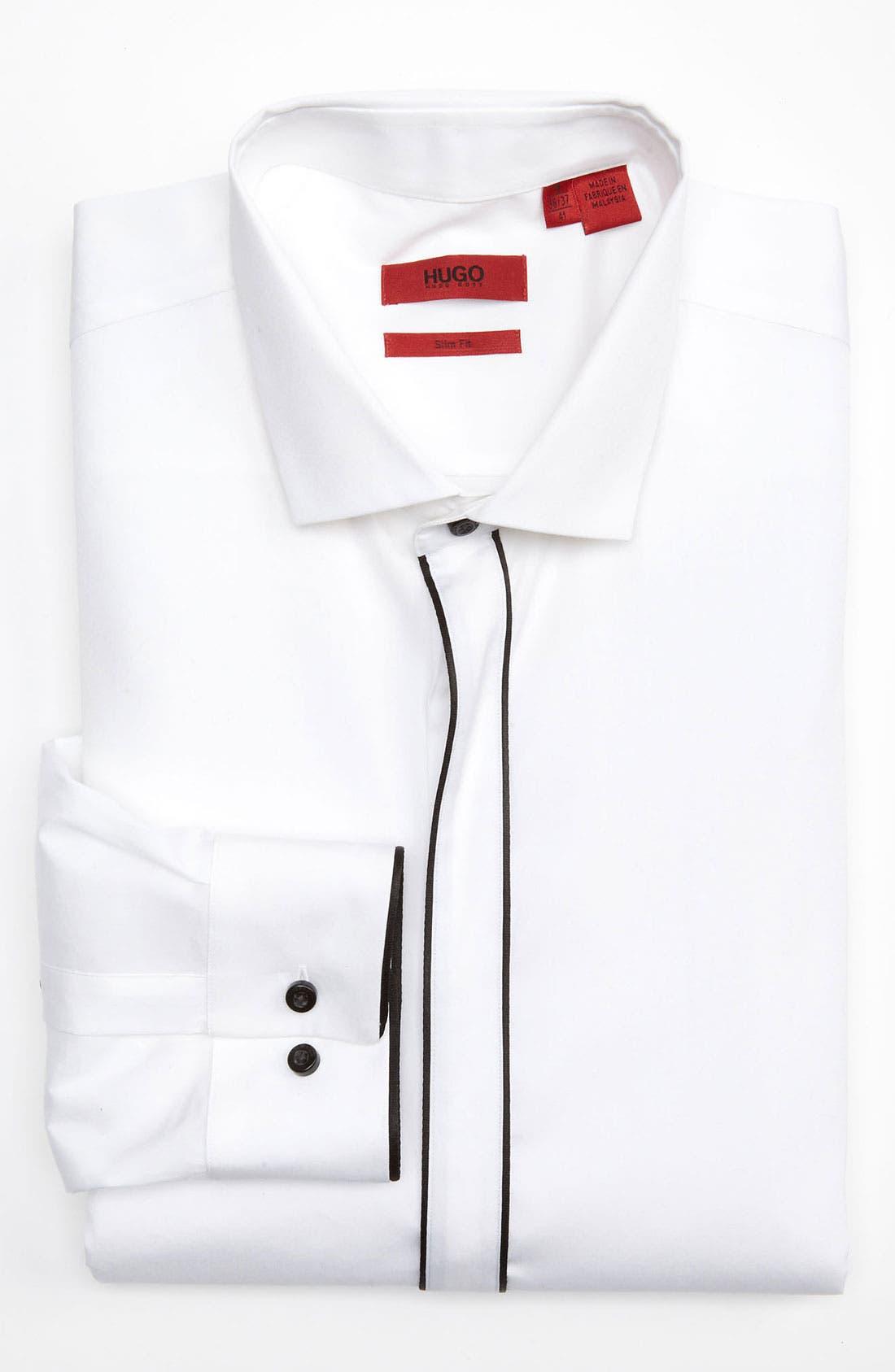 Main Image - HUGO 'Excitex' Slim Fit Tuxedo Shirt