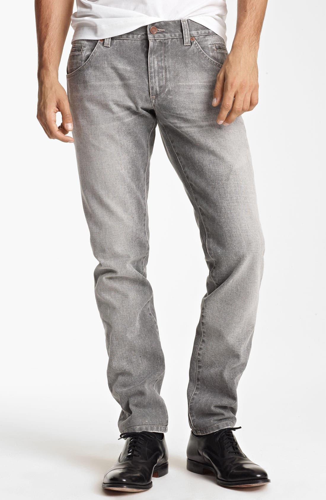 Alternate Image 1 Selected - Dolce&Gabbana Slim Straight Leg Jeans (Medium Grey)
