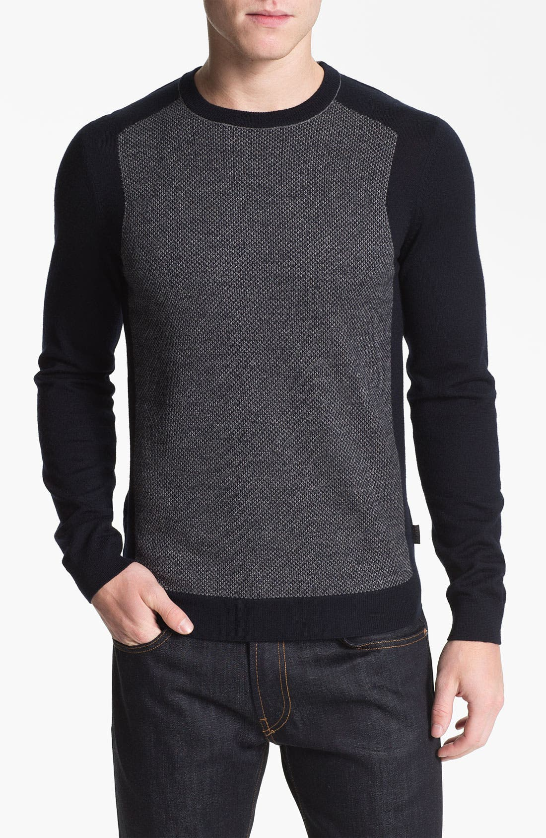 Alternate Image 1 Selected - BOSS Black 'Herschel' Wool Crewneck Sweater