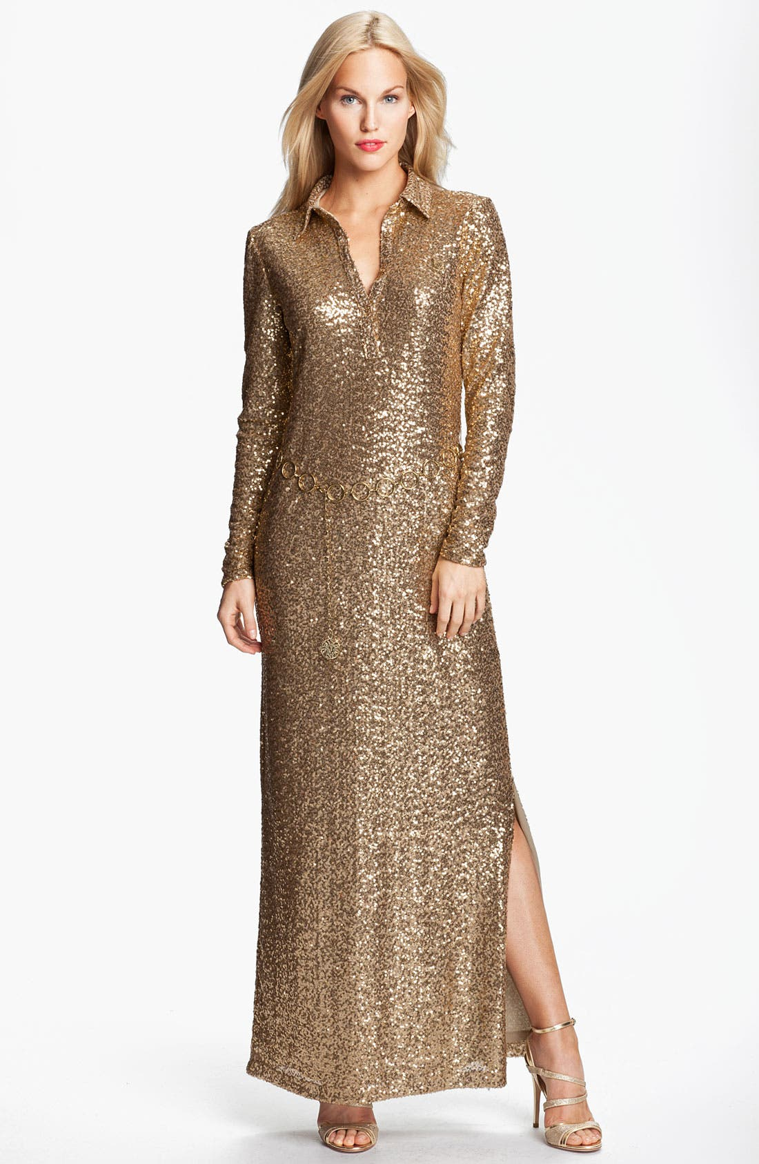 Main Image - Anne Klein 'Leo' Belted Sequin Maxi Dress
