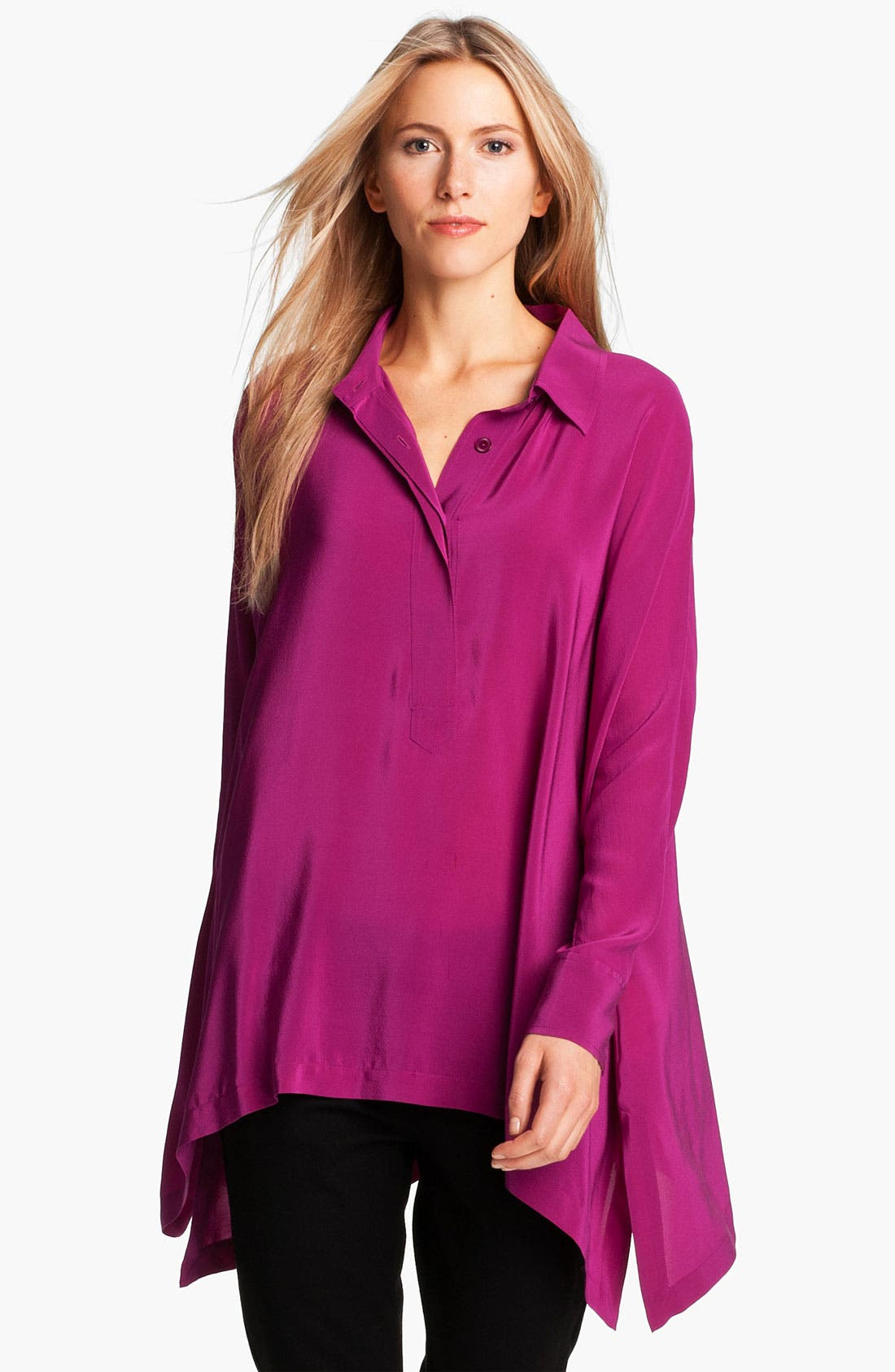 Alternate Image 1 Selected - Eileen Fisher Boxy Silk Shirt