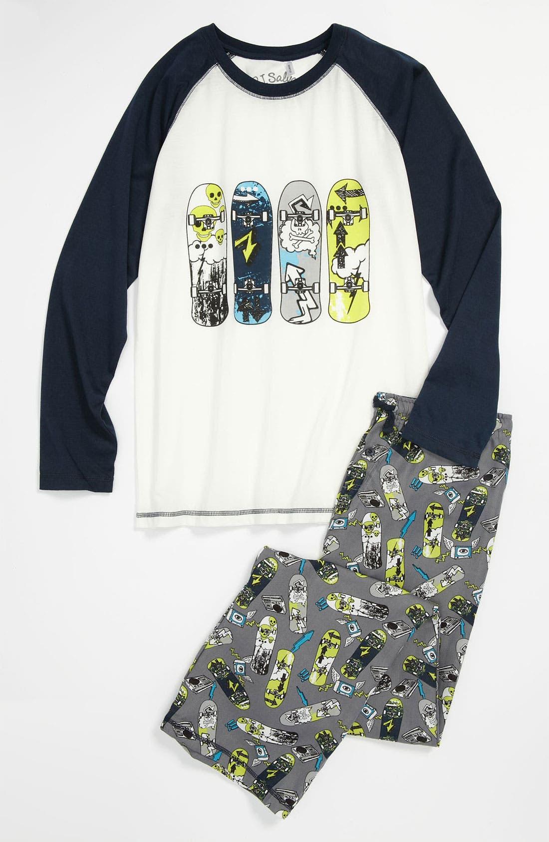 Alternate Image 1 Selected - PJ Salvage 'Skateboard' Two Piece Pajamas (Big Boys)