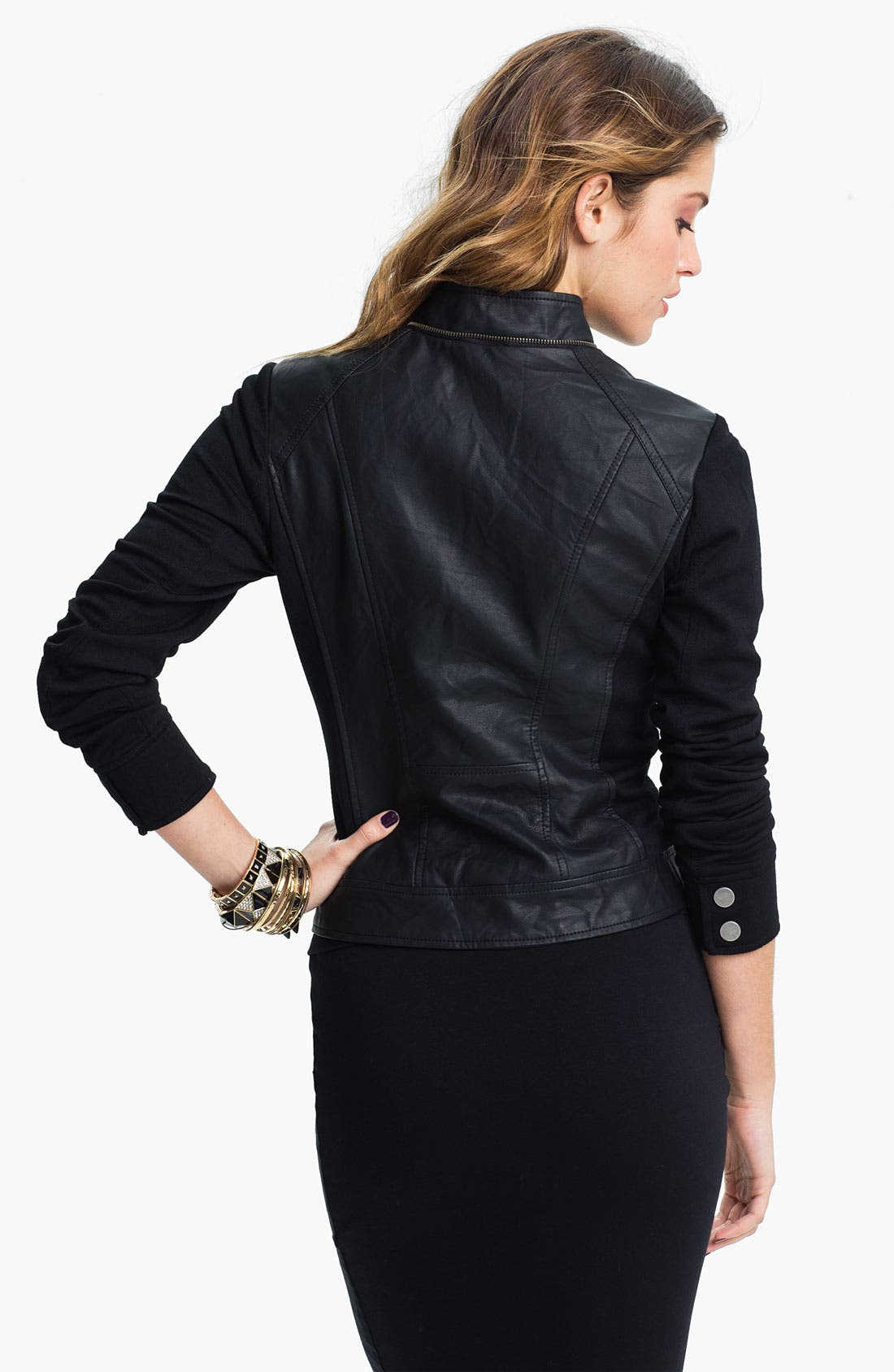 Alternate Image 2  - Collection B Faux Leather & Ponte Moto Jacket (Juniors)