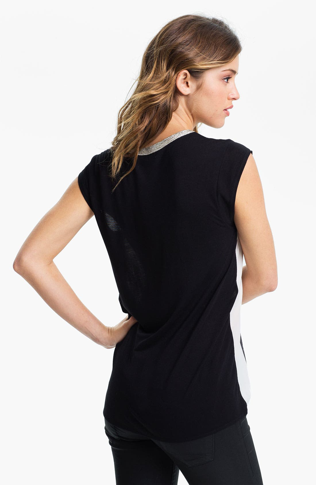 Alternate Image 2  - Chloe K Embellished Necklace Graphic Muscle Tee (Juniors)