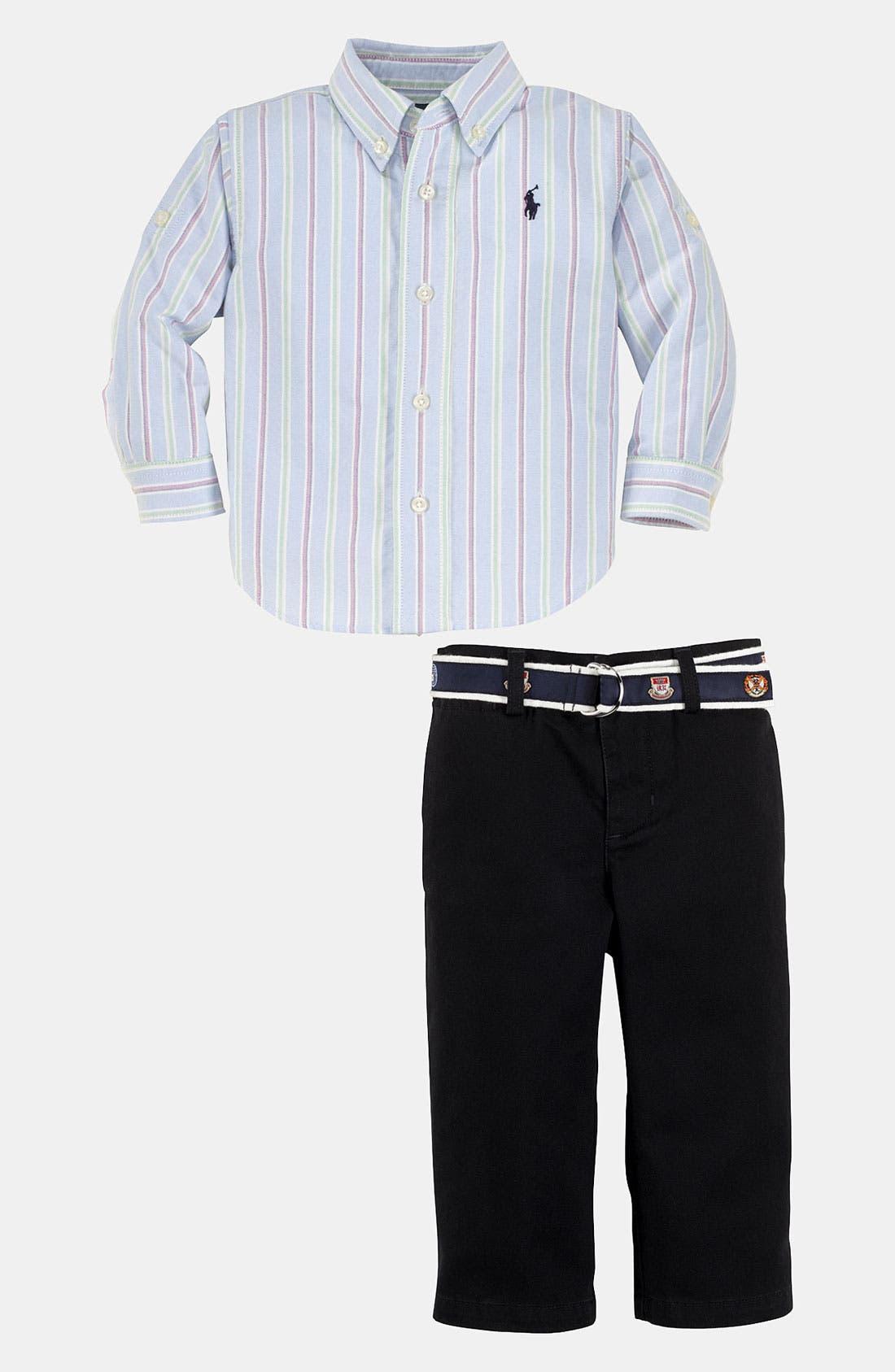 Alternate Image 2  - Ralph Lauren Stripe Shirt & Pants (Infant)