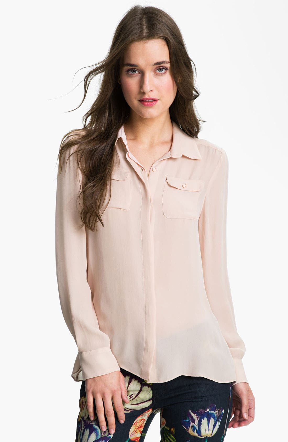 Alternate Image 1 Selected - Parker Split Back Sheer Silk Shirt