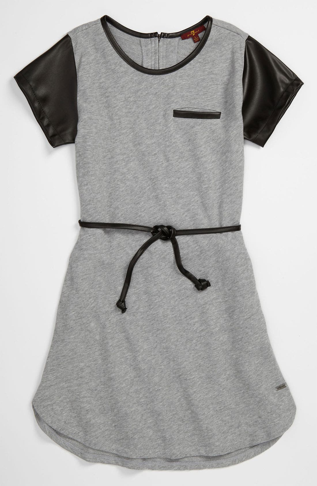 Main Image - 7 For All Mankind® Faux Leather Trim Dress (Big Girls)