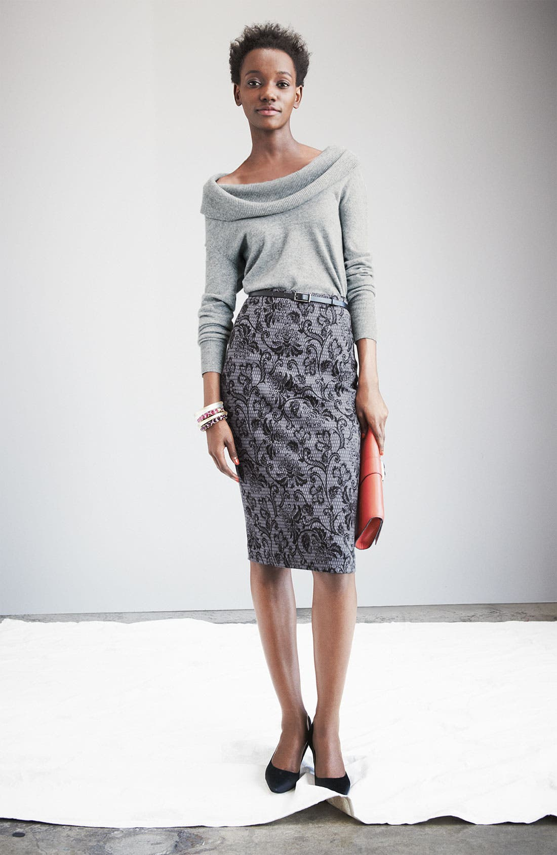 Alternate Image 1 Selected - Halogen® Cashmere Sweater & Ponte Skirt