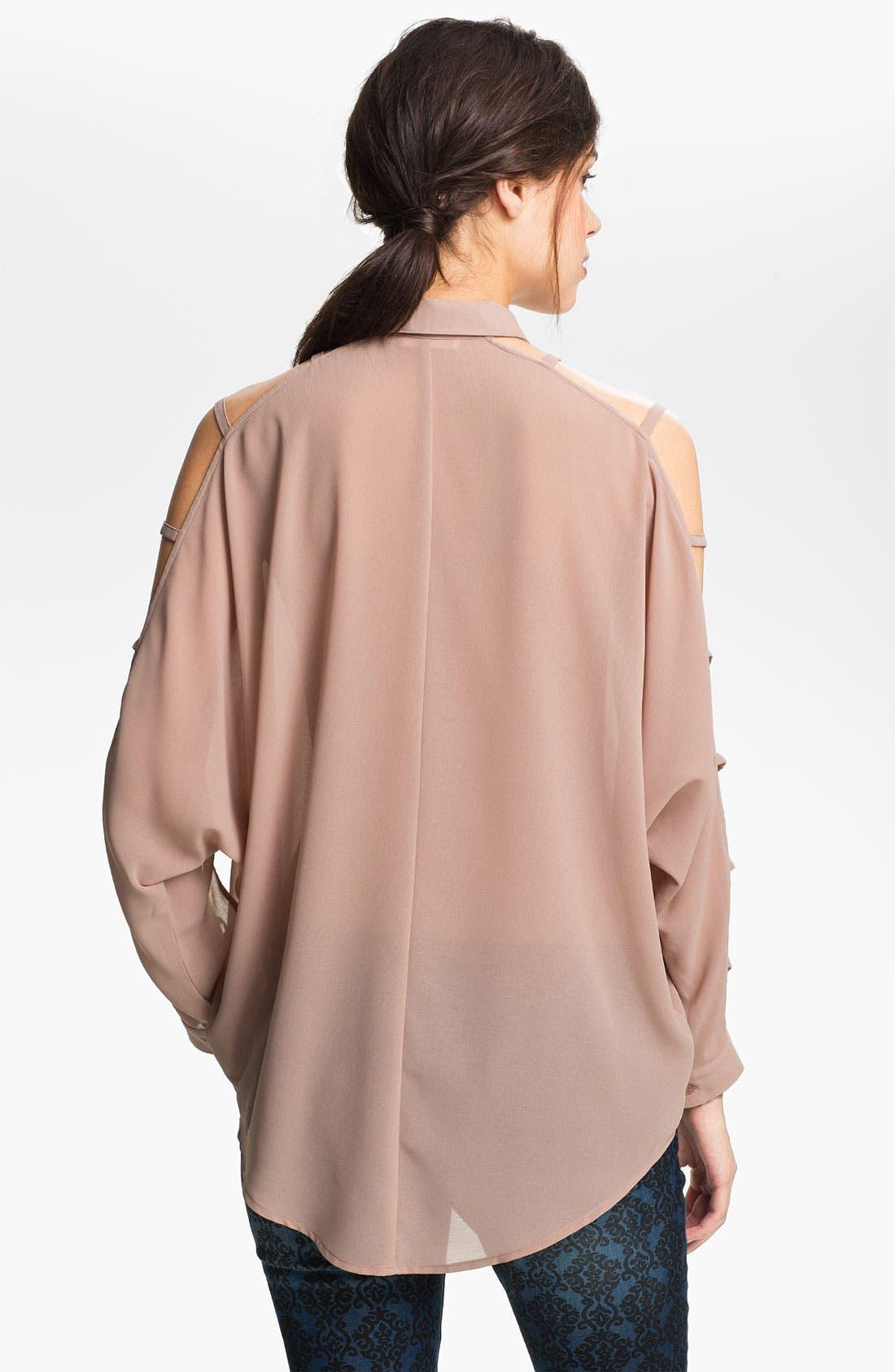 Alternate Image 2  - Lush Ladder Sleeve Shirt (Juniors)