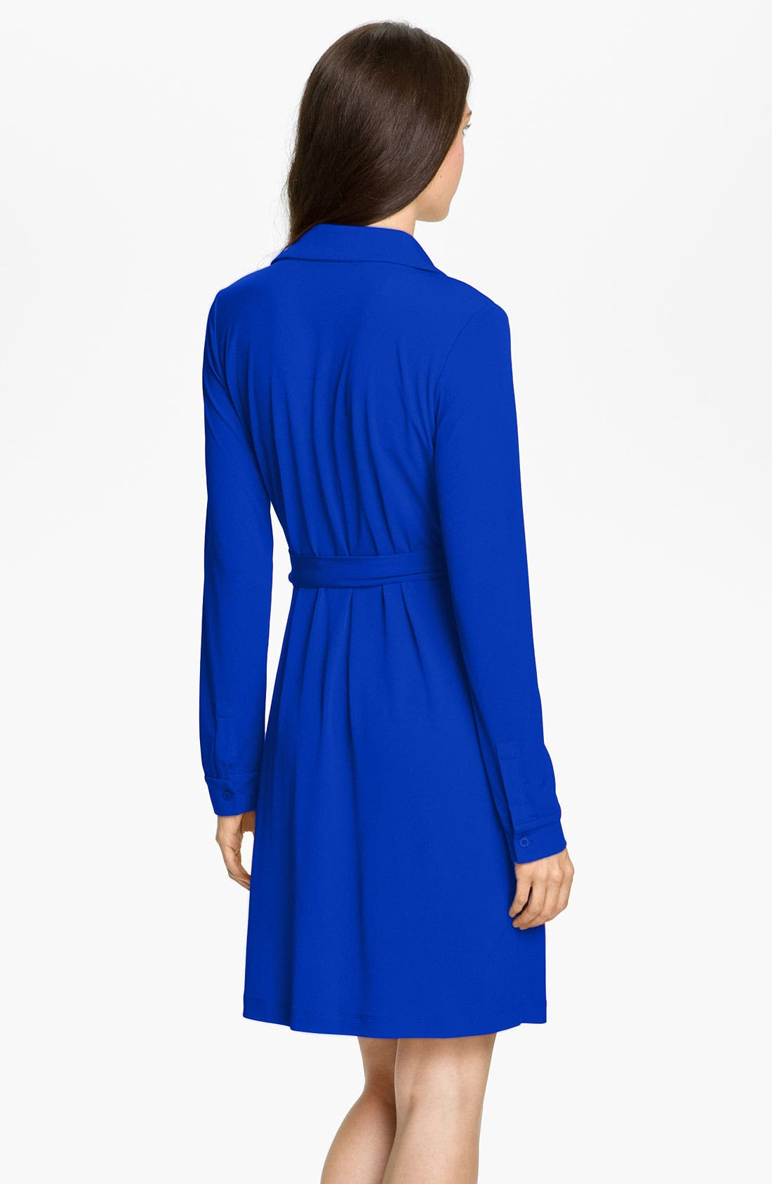 Alternate Image 2  - Calvin Klein Collared Jersey Wrap Dress (Petite)