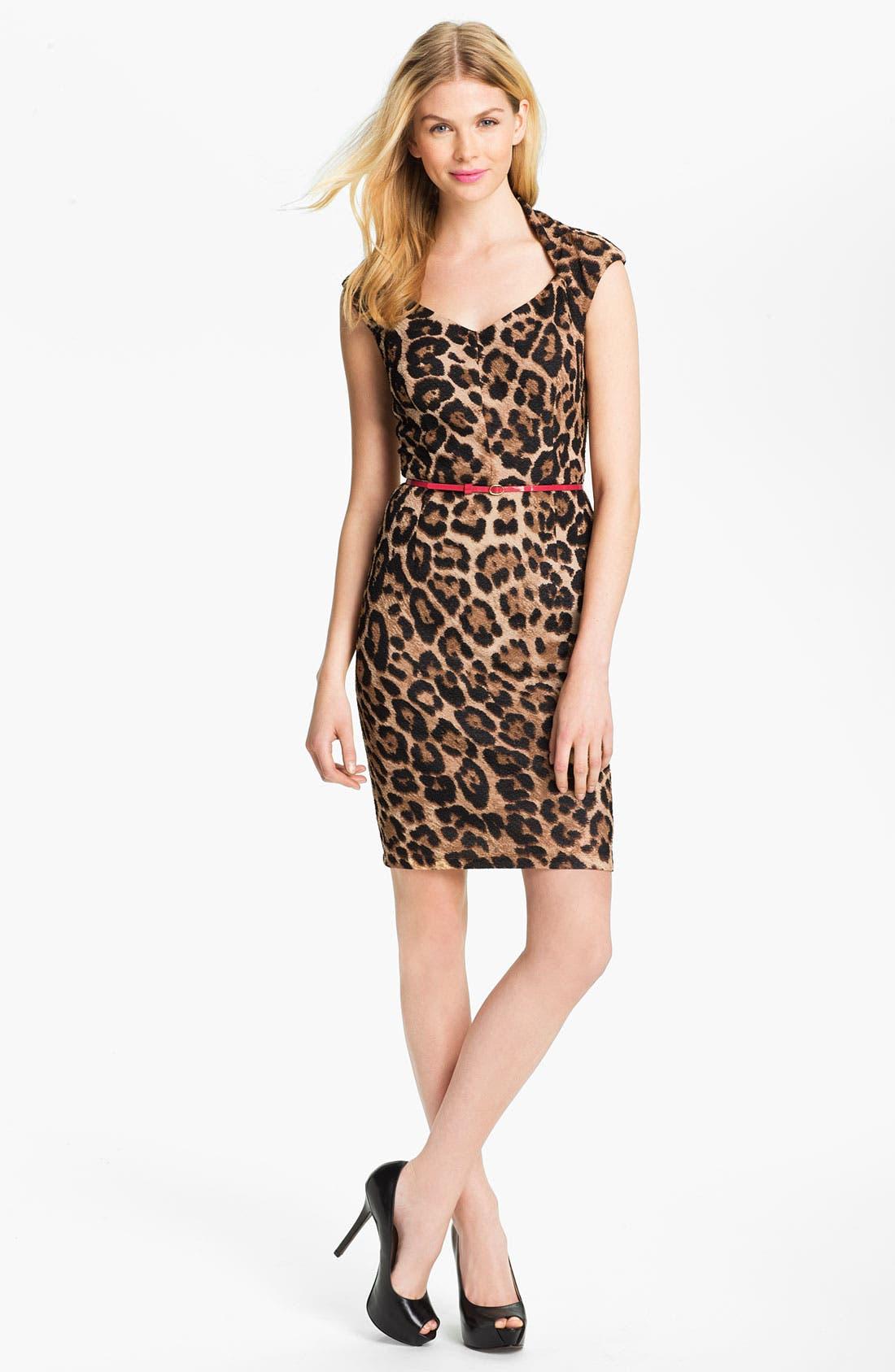 Main Image - Ellen Tracy Belted Animal Print Sheath Dress