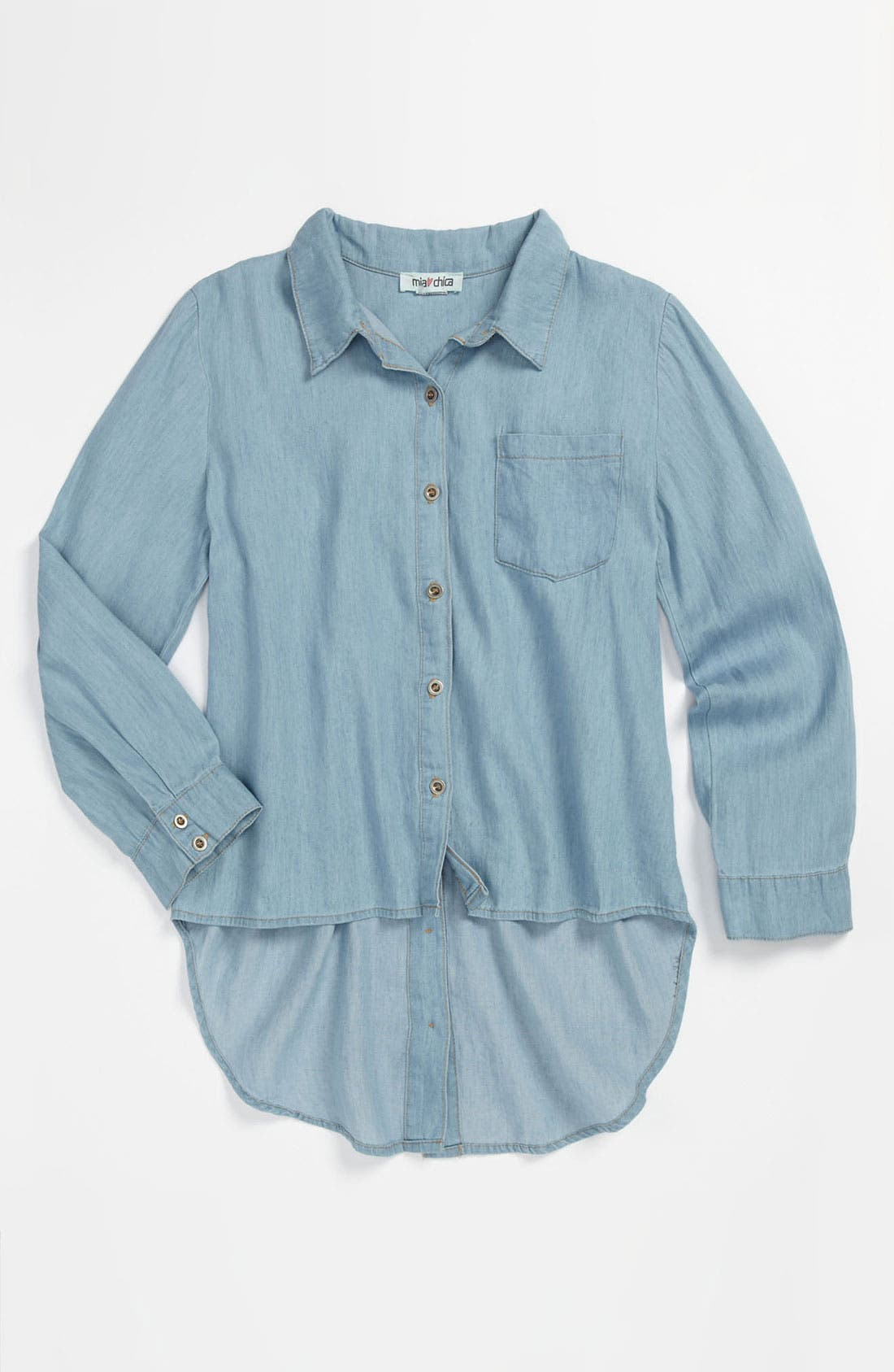 Main Image - Mia Chica Chambray Shirt (Big Girls)