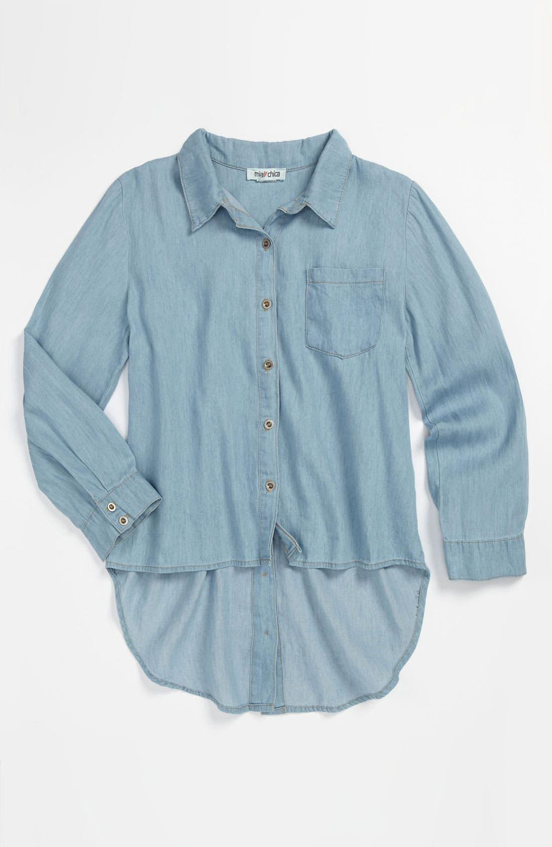 Main Image - Mia Chica Chambray Shirt (Big Girls)