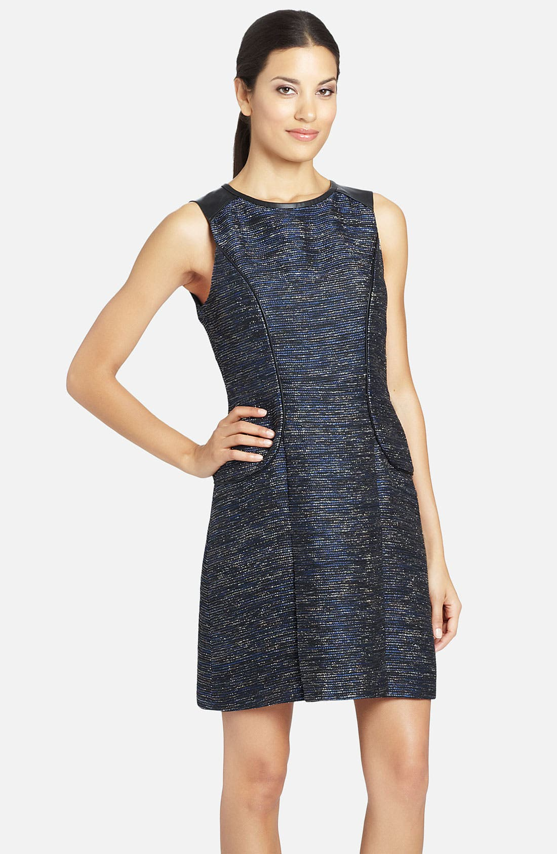 Main Image - Cynthia Steffe 'Blair' Faux-Leather Piping Metallic Woven Dress