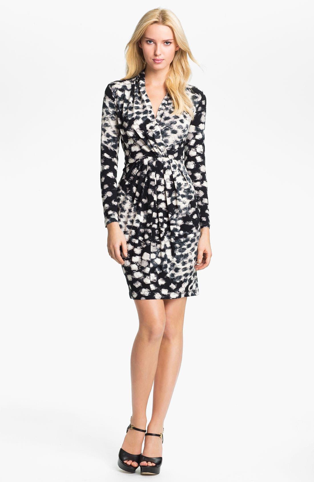 Alternate Image 1 Selected - Karen Kane Shirred Faux Wrap Dress (Online Exclusive)