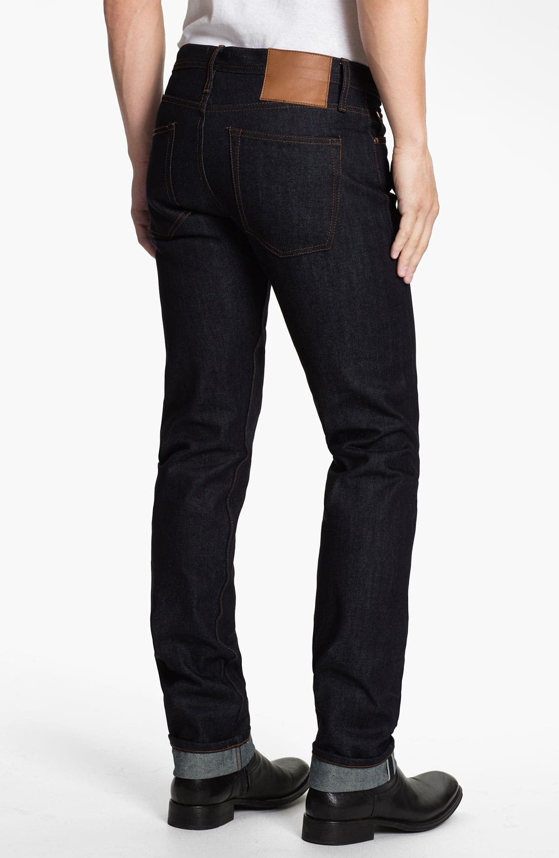 Alternate Image 2  - The Unbranded Brand UB101 Skinny Fit Raw Selvedge Jeans (Indigo)