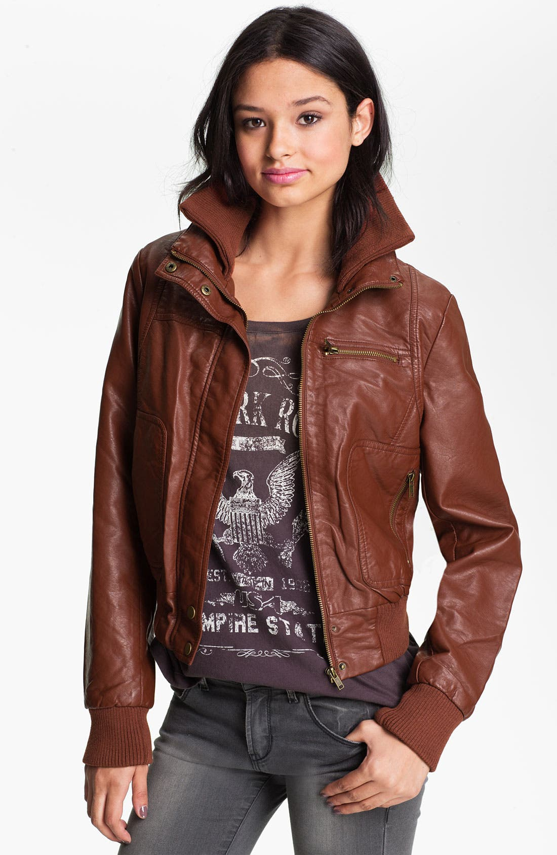 Alternate Image 1 Selected - Thread & Supply Faux Leather Bomber Jacket (Juniors)