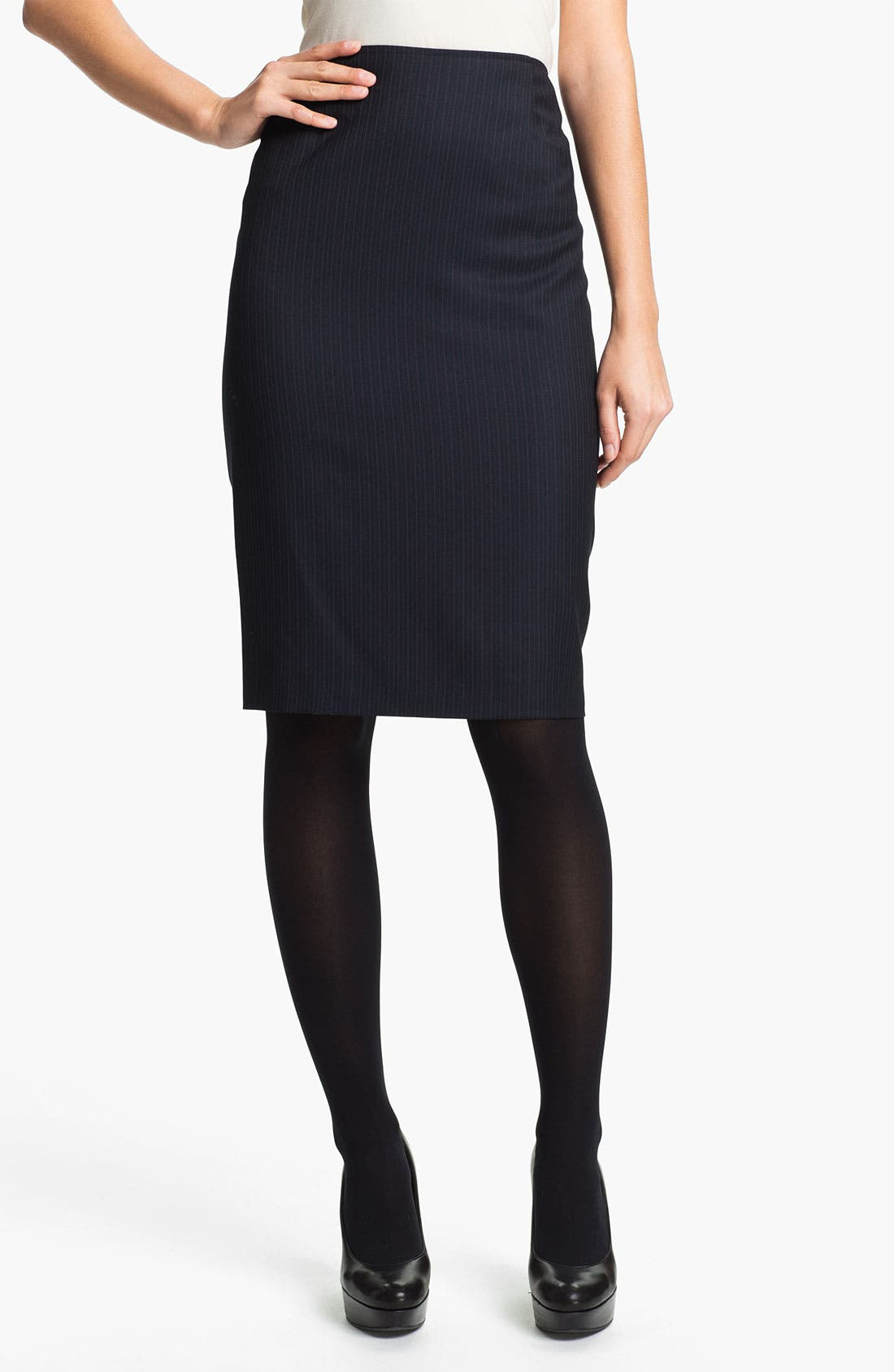 Main Image - Santorelli 'Maria' Stripe Wool Skirt