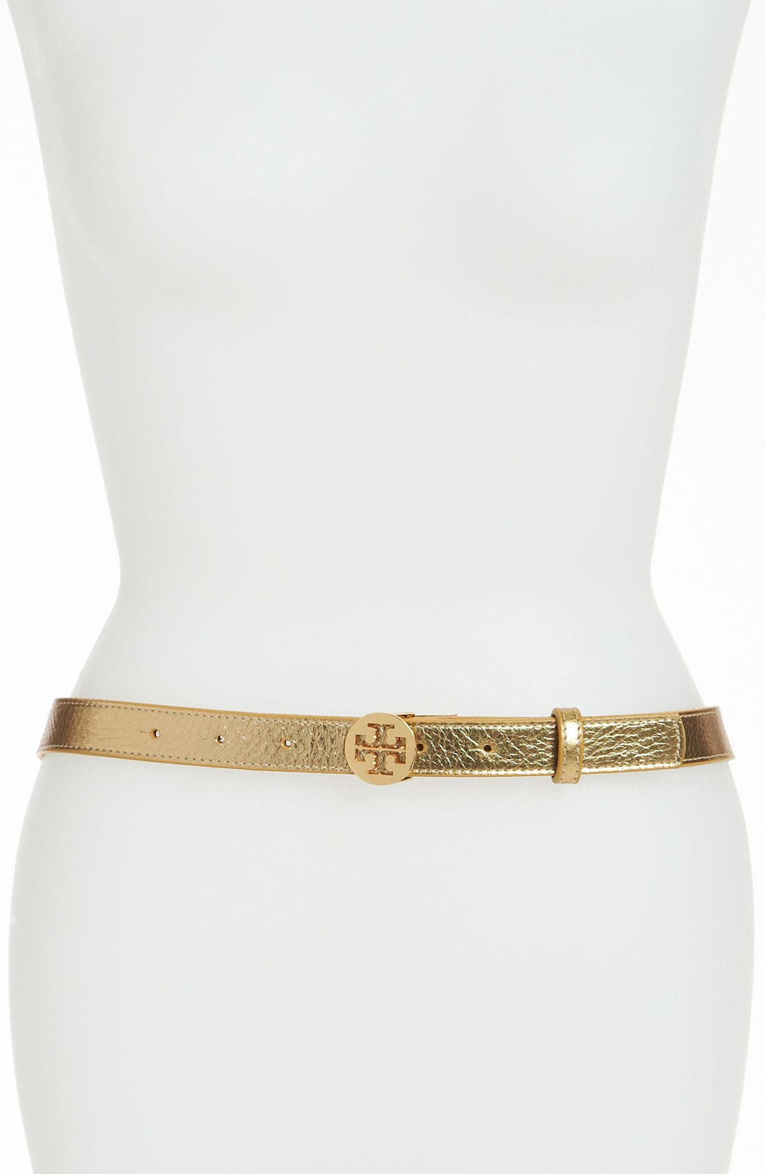 Main Image - Tory Burch 'Tory Logo' Metallic Leather Belt