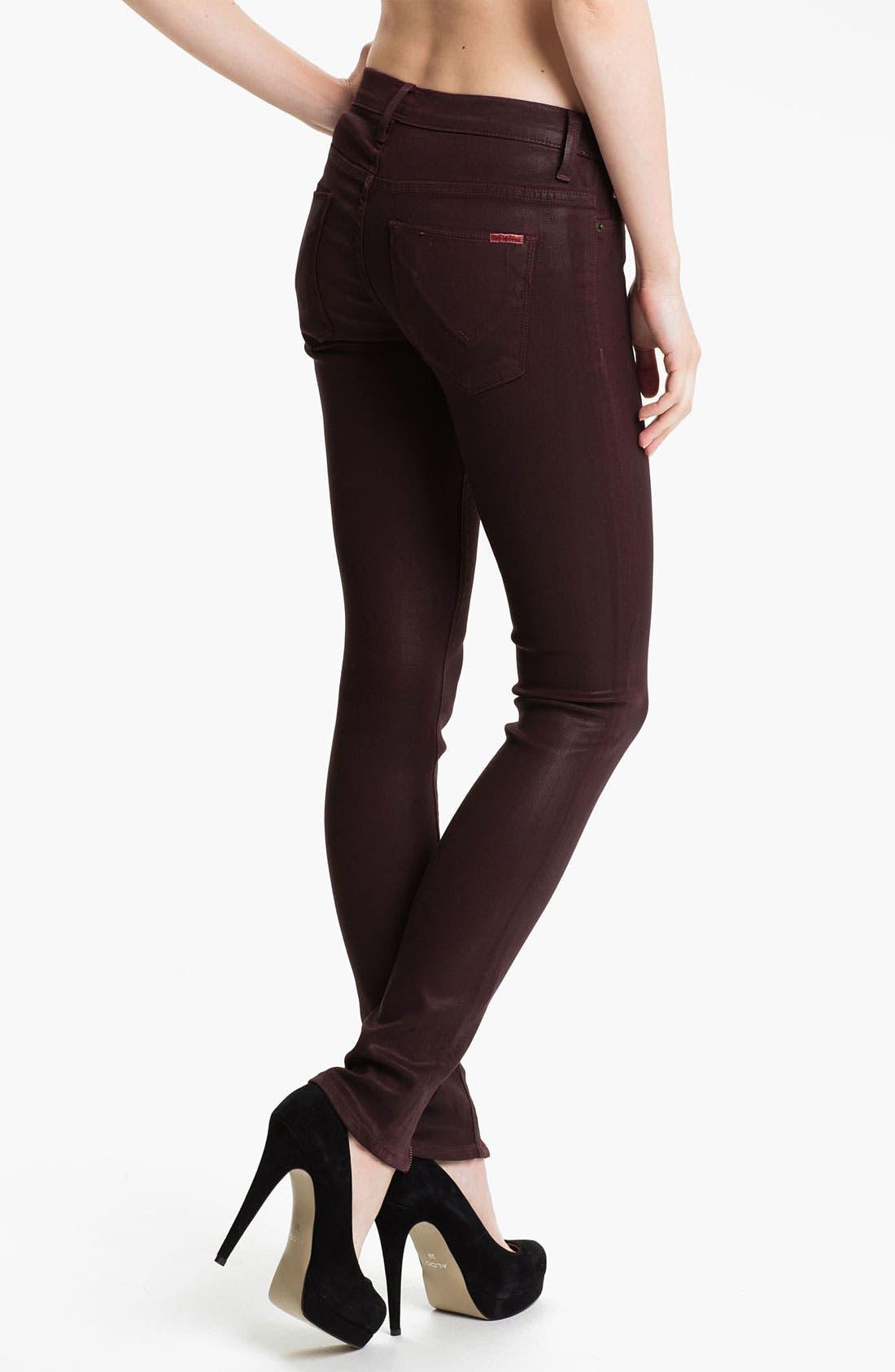 Alternate Image 2  - Hudson Jeans Super Skinny Jeans (Bordeaux Wax)