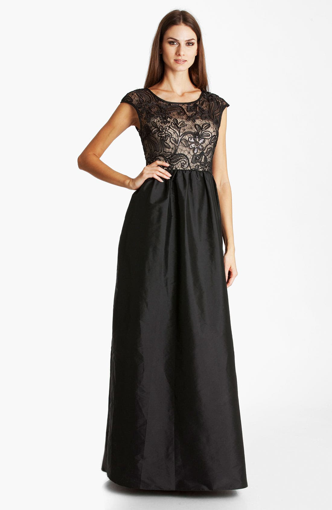Alternate Image 1 Selected - JS Boutique Lace & Taffeta Ballgown