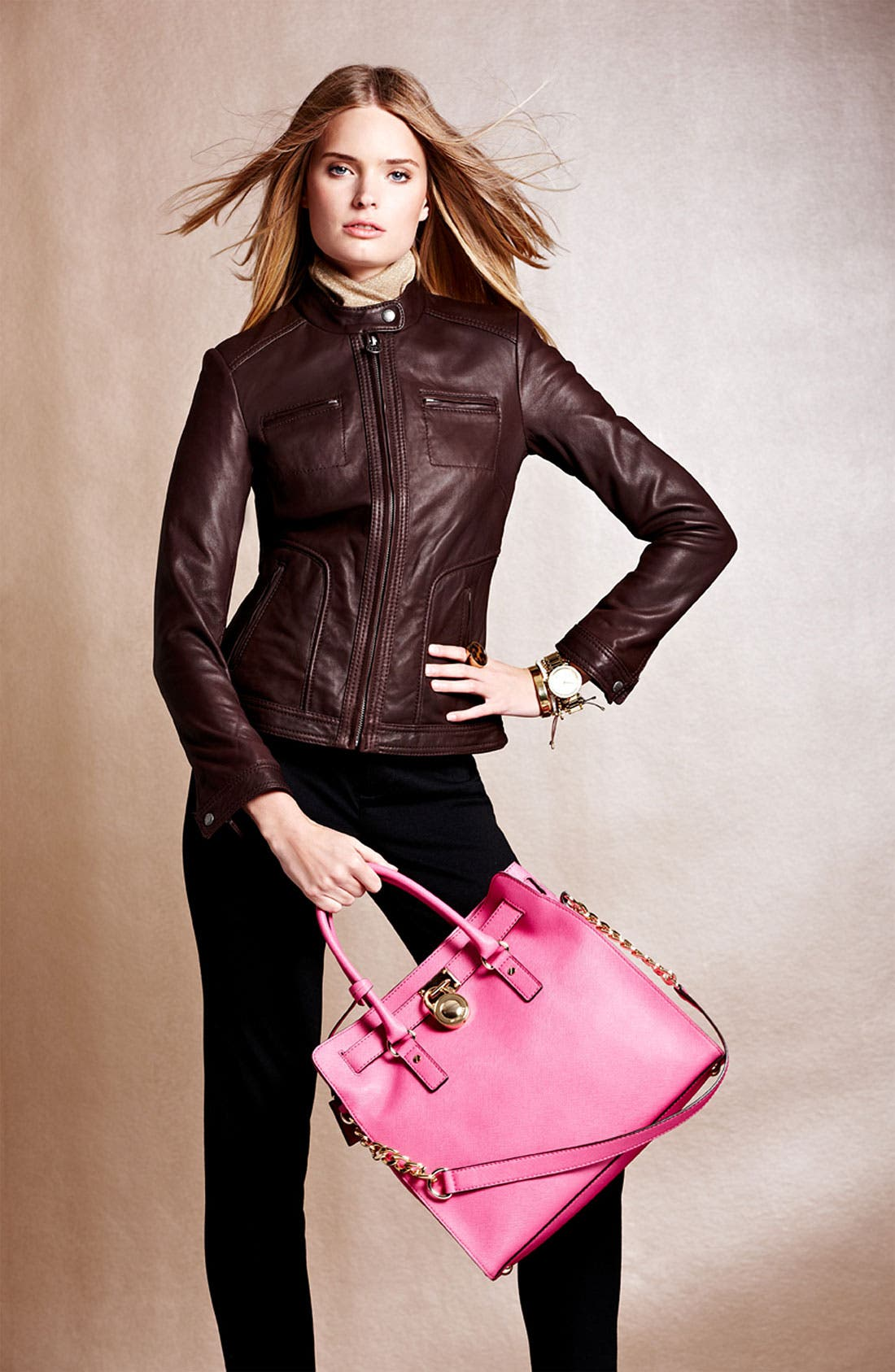 Main Image - MICHAEL Michael Kors Leather Jacket, Pants & Tote