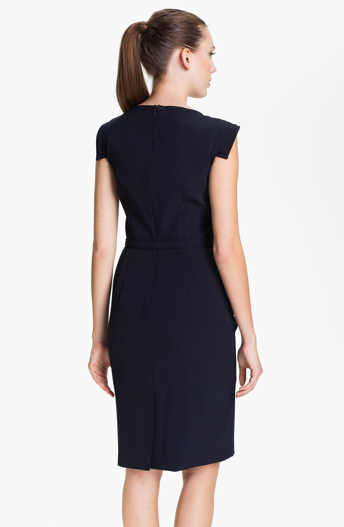 Alternate Image 2  - Adrianna Papell Belted Tab Sleeve Sheath Dress