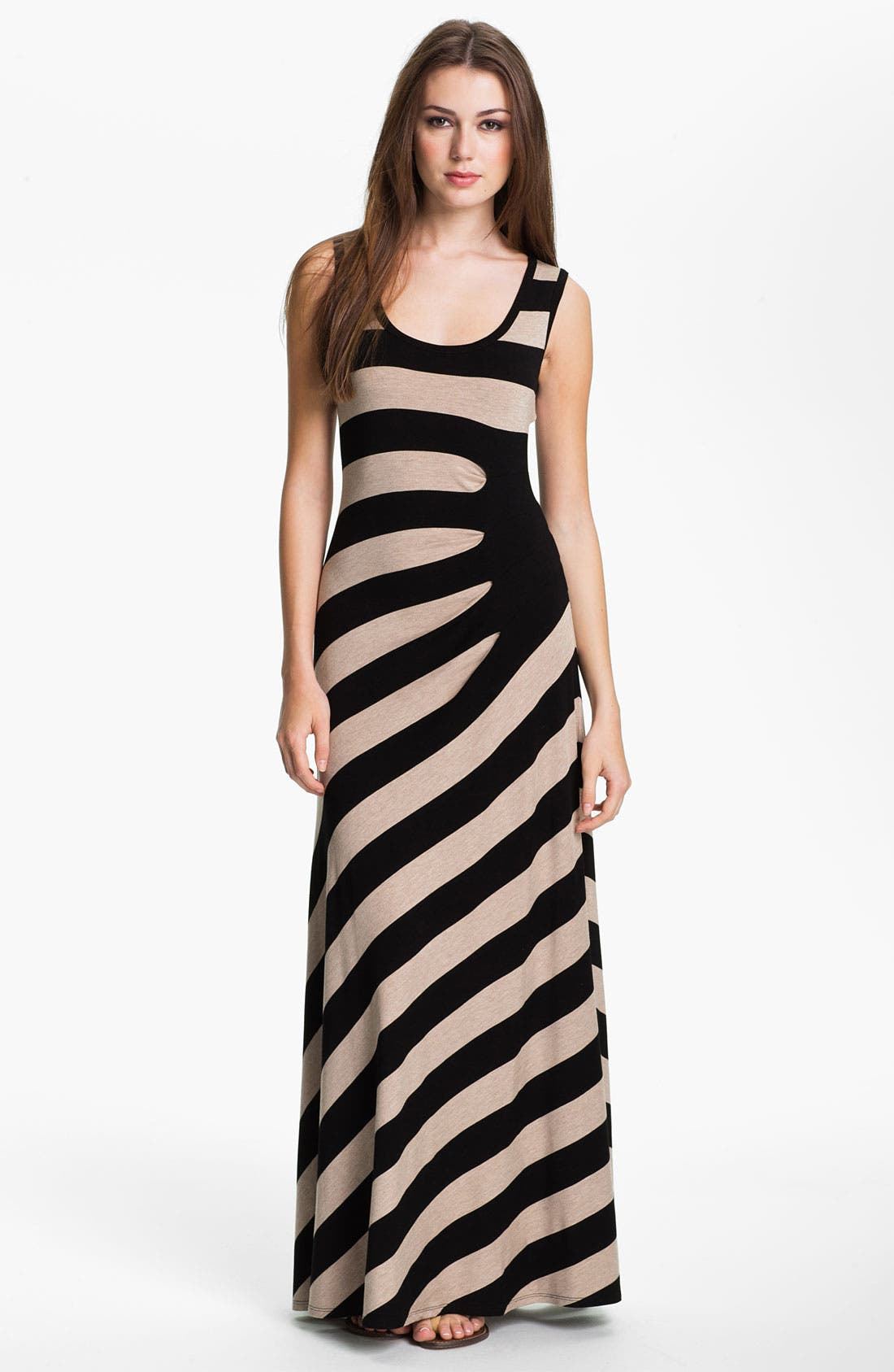 Alternate Image 1 Selected - Calvin Klein Asymmetrical Stripe Maxi Tank Dress