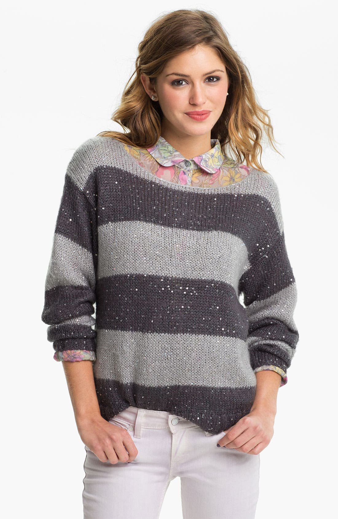Alternate Image 1 Selected - Love on a Hanger 'Stripe and Shine' Sweater (Juniors)