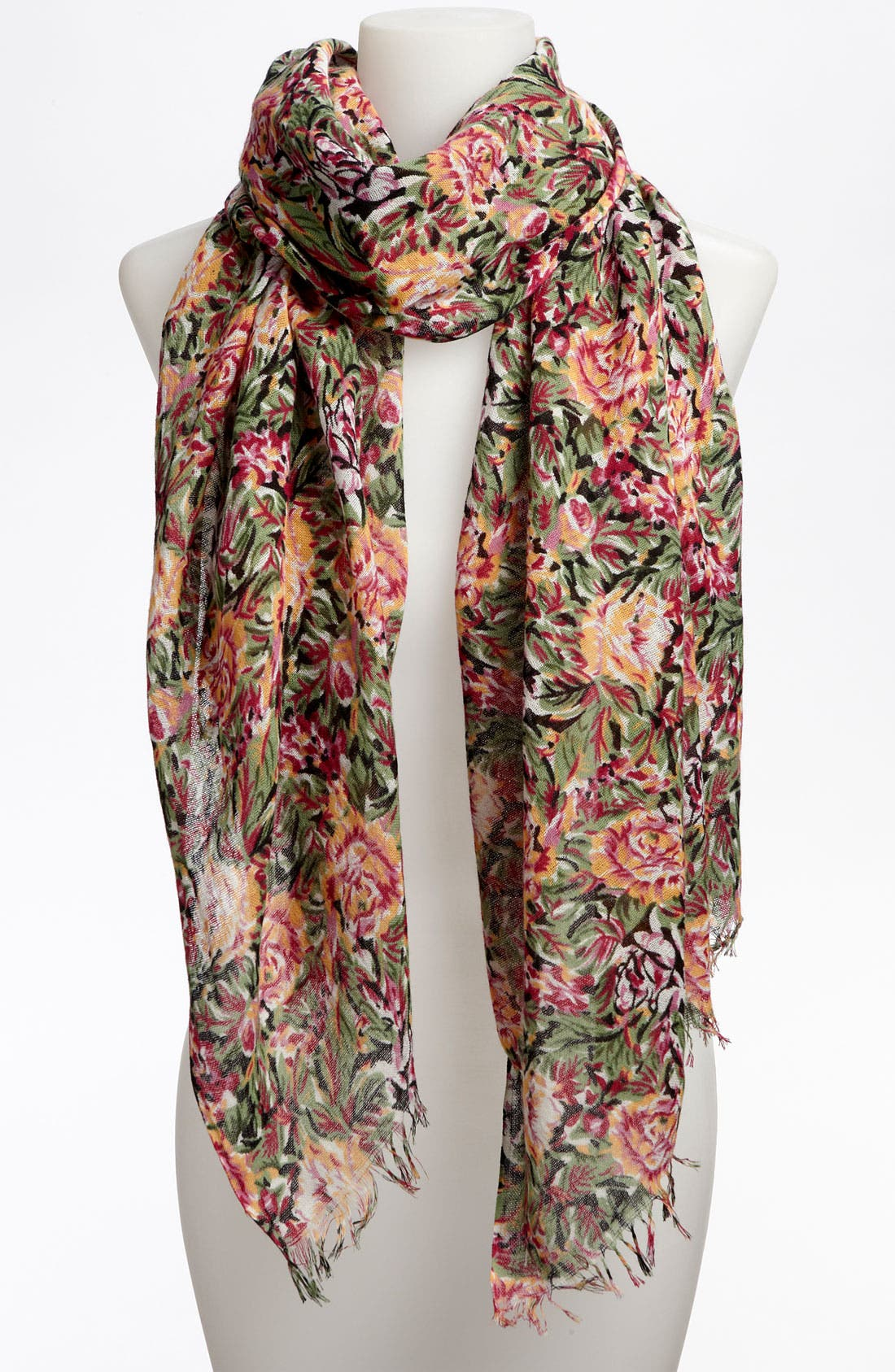 Alternate Image 1 Selected - Lulu Sheer Floral Scarf