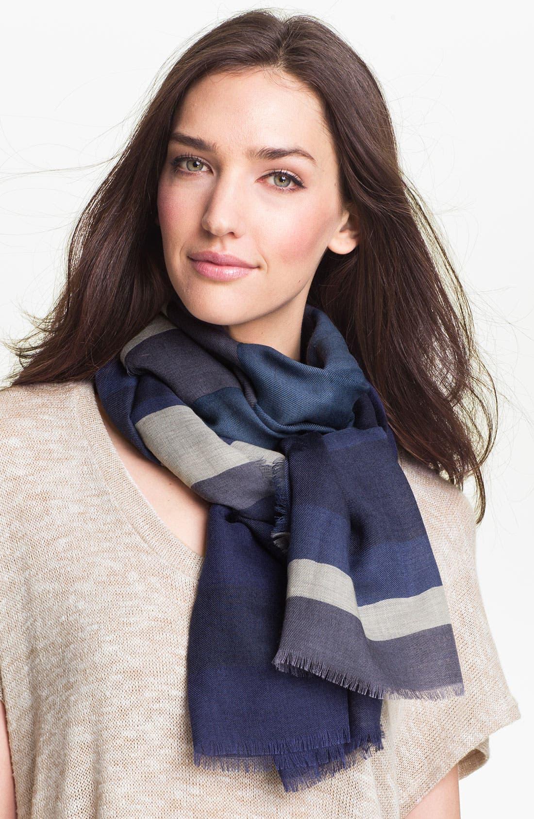 Main Image - Burberry Overprinted Stripe Wool & Silk Scarf