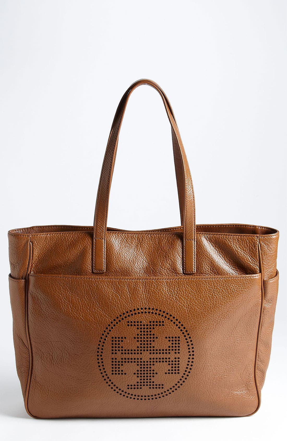 Main Image - Tory Burch Perforated Logo Classic Leather Tote