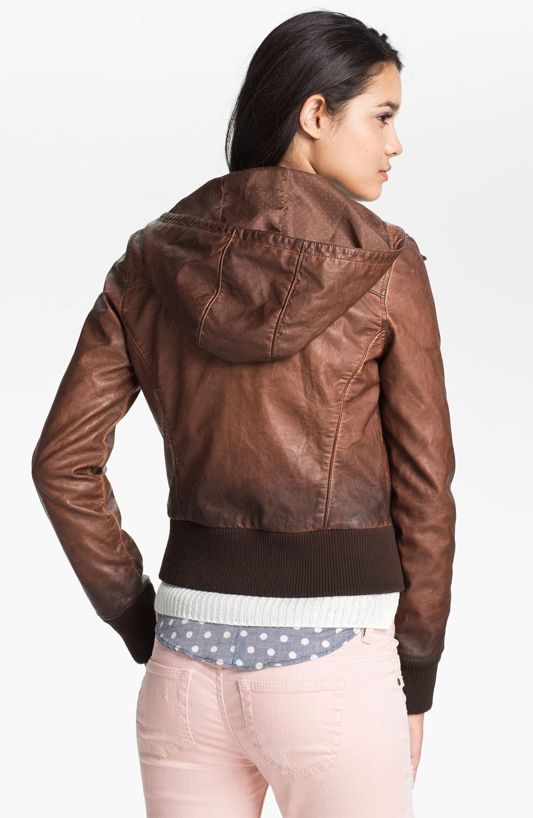 Alternate Image 2  - Thread & Supply Ombré Faux Leather Hoodie (Juniors)