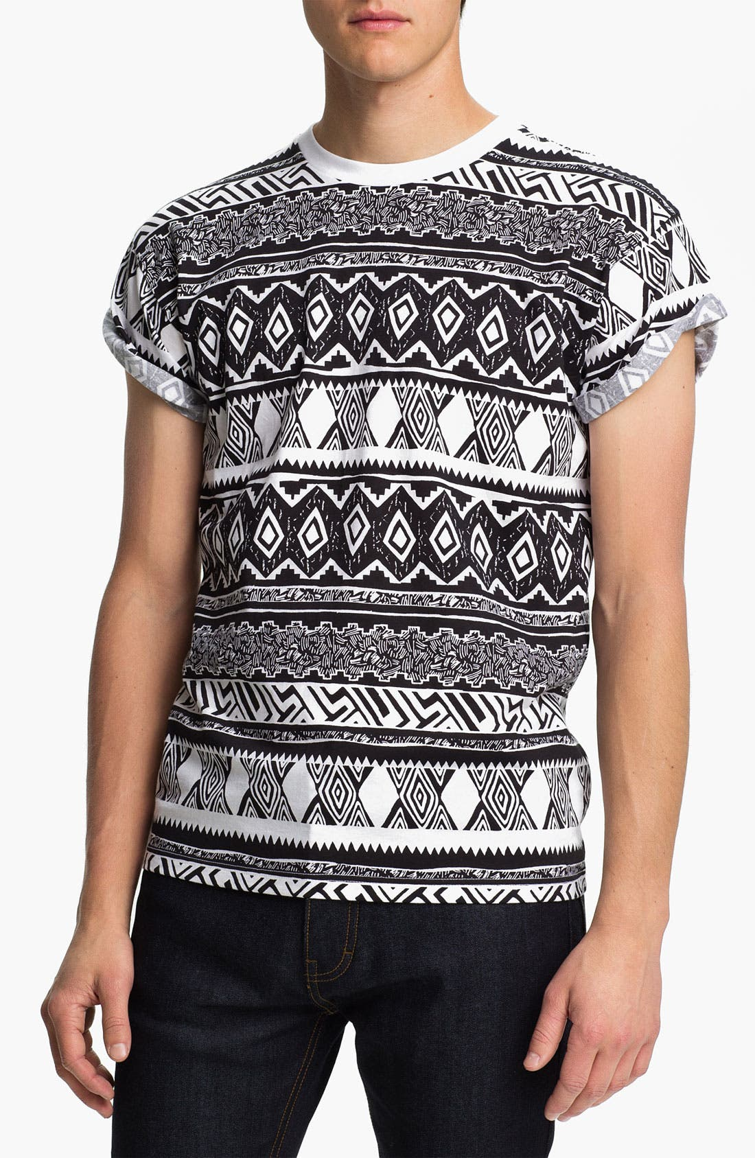 Main Image - Topman 'High Roller' All Over Pattern Print T-Shirt