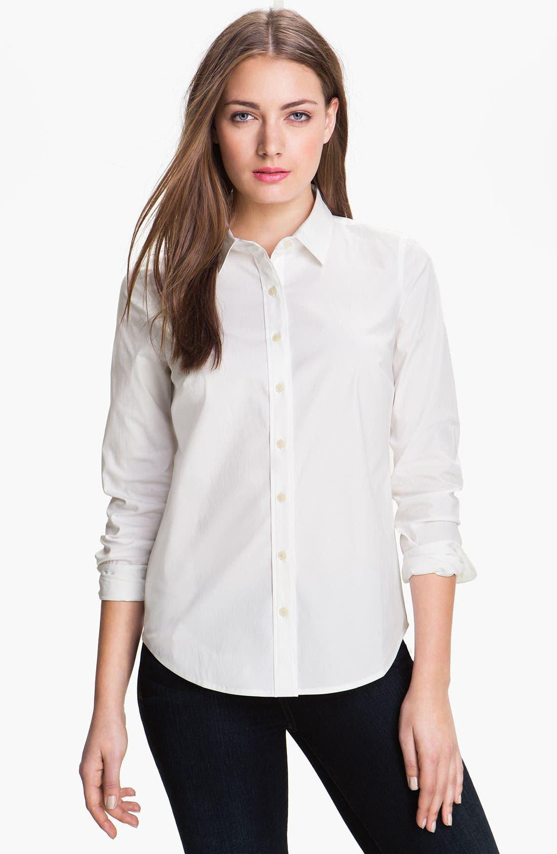 Alternate Image 1 Selected - Halogen® Poplin Shirt (Regular & Petite)