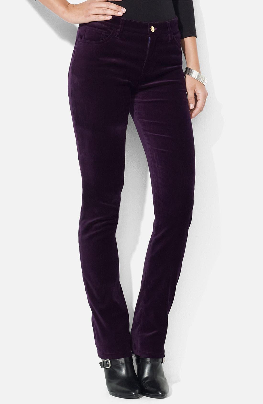 Main Image - Lauren Ralph Lauren Stretch Velveteen Pants (Petite)