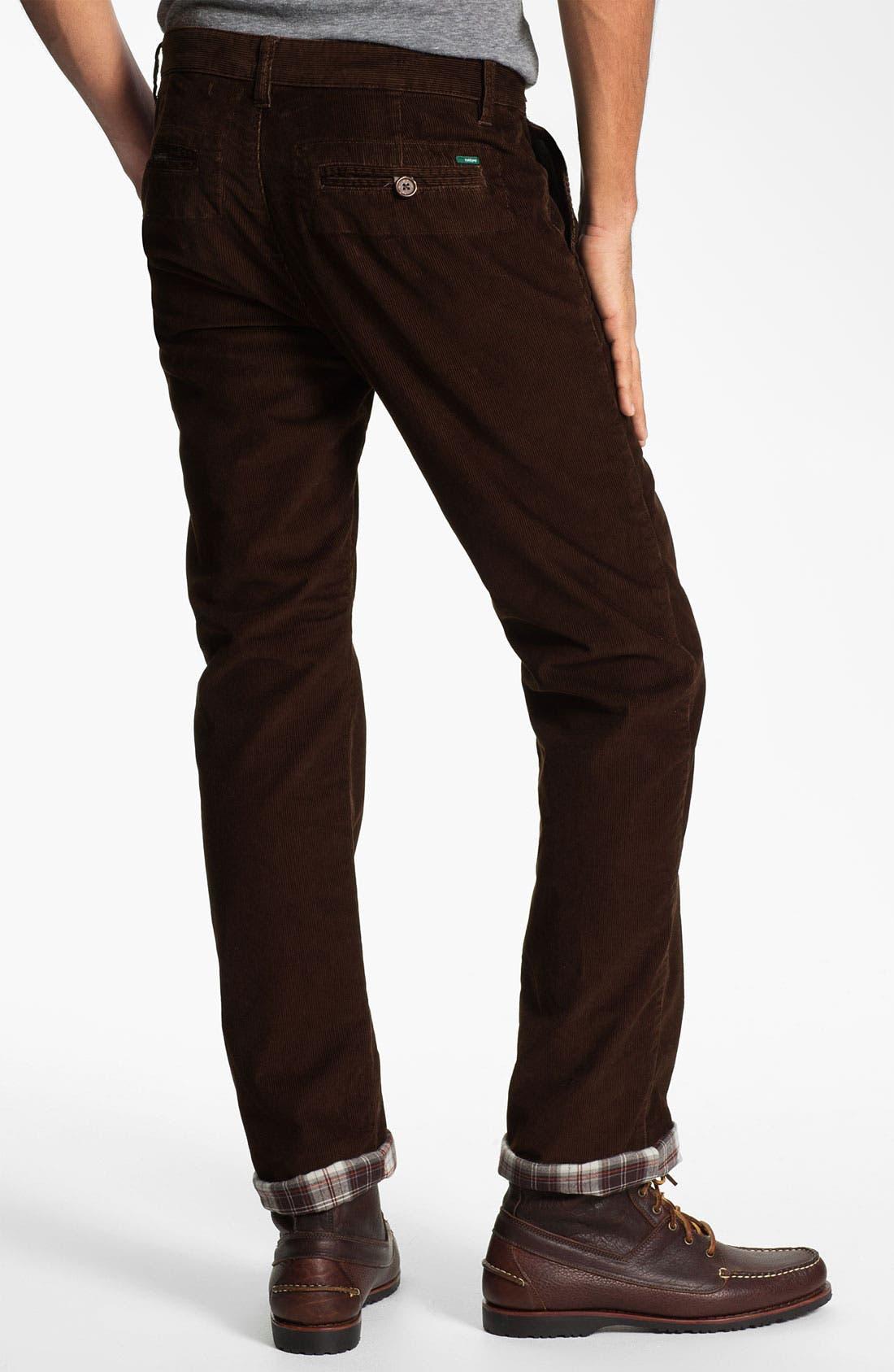 Alternate Image 2  - Toddland Flannel Lined Slim Straight Leg Corduroy Pants