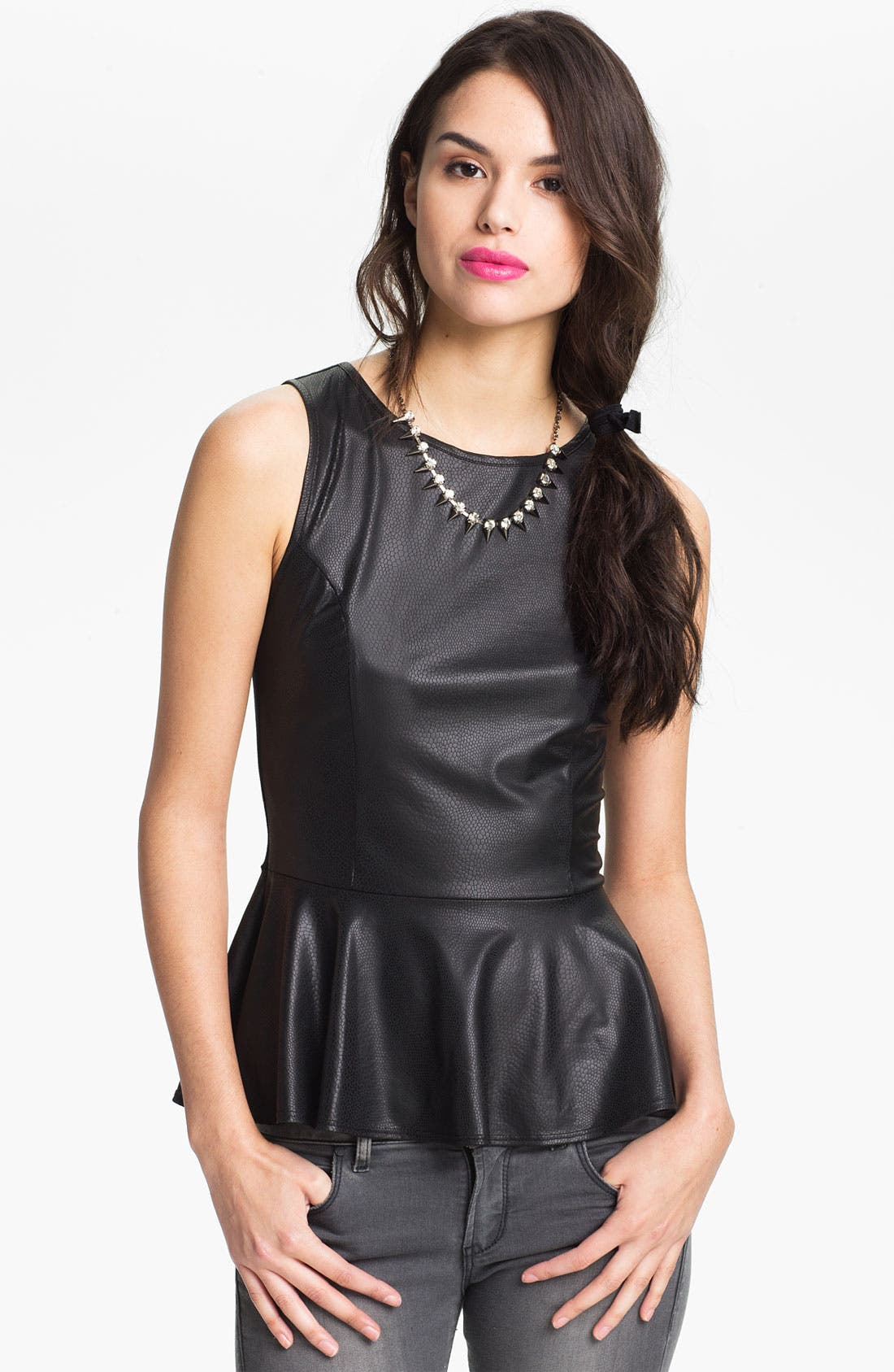 Main Image - WallpapHer Faux Leather Peplum Top (Juniors)