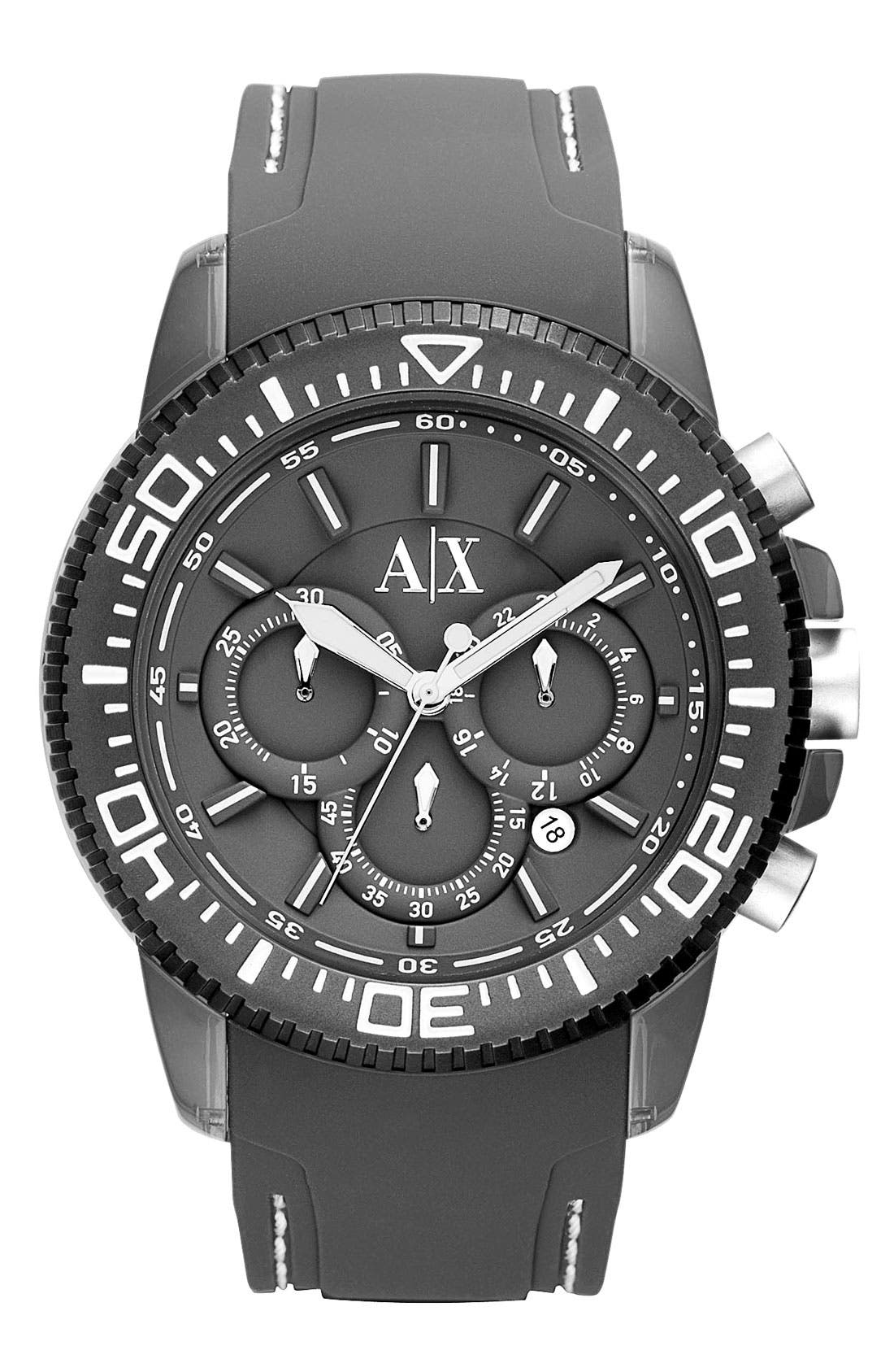 Alternate Image 1 Selected - AX Armani Exchange Chronograph Silicone Strap Watch, 46mm