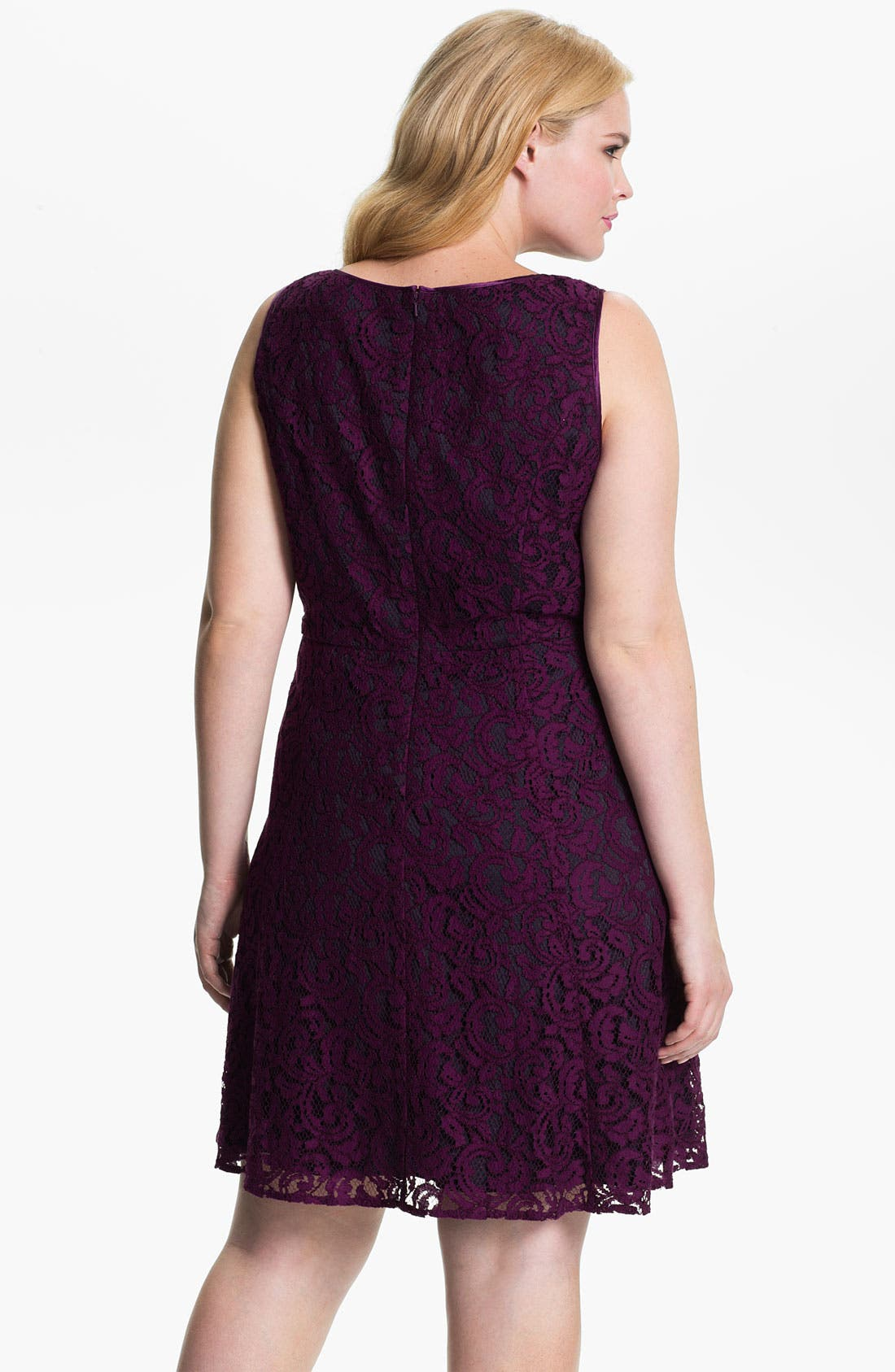 Alternate Image 2  - Adrianna Papell Lace Fit & Flare Dress (Plus)