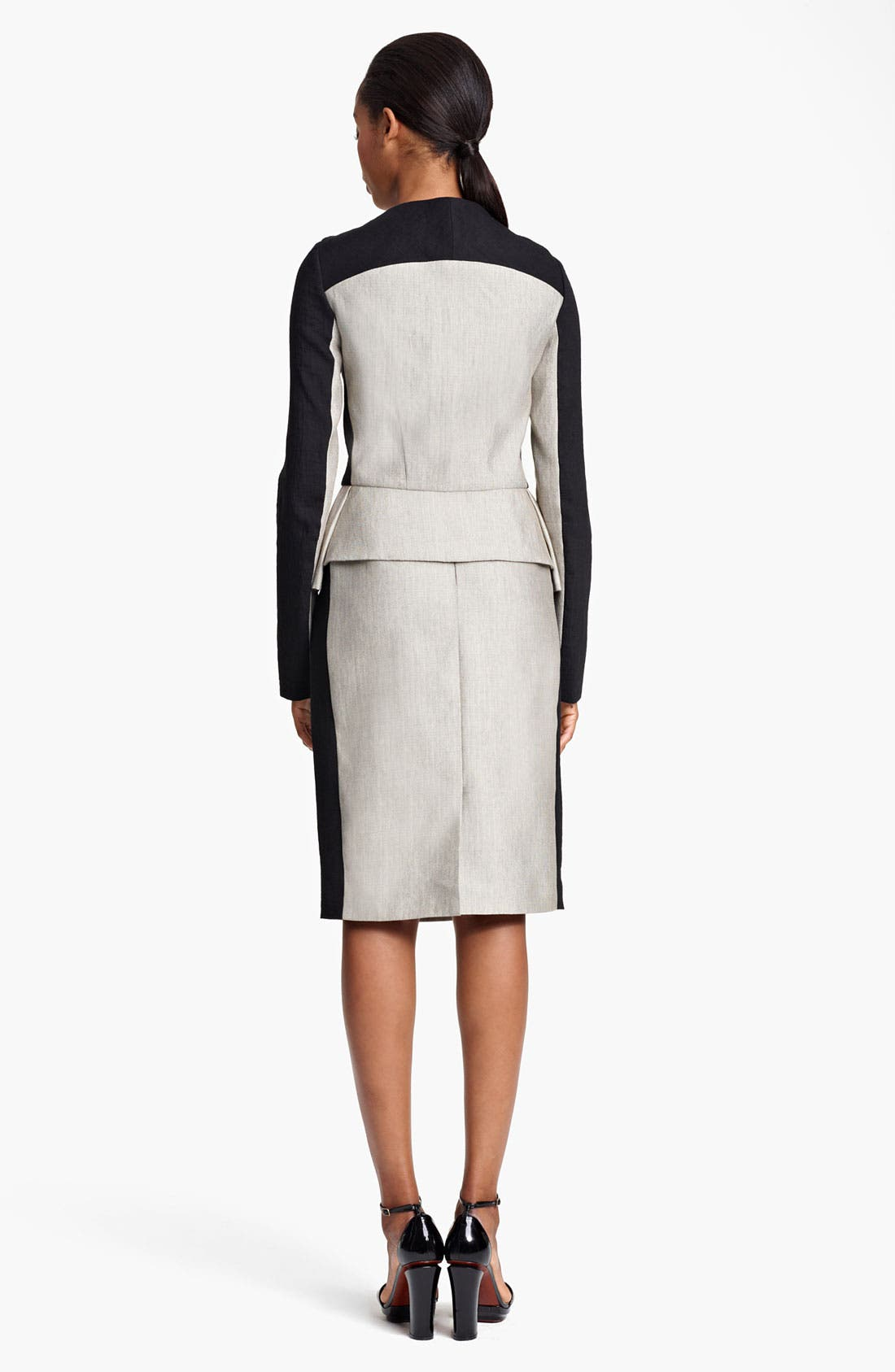 Alternate Image 4  - Lida Baday Contrast Sleeve Raffia Peplum Jacket