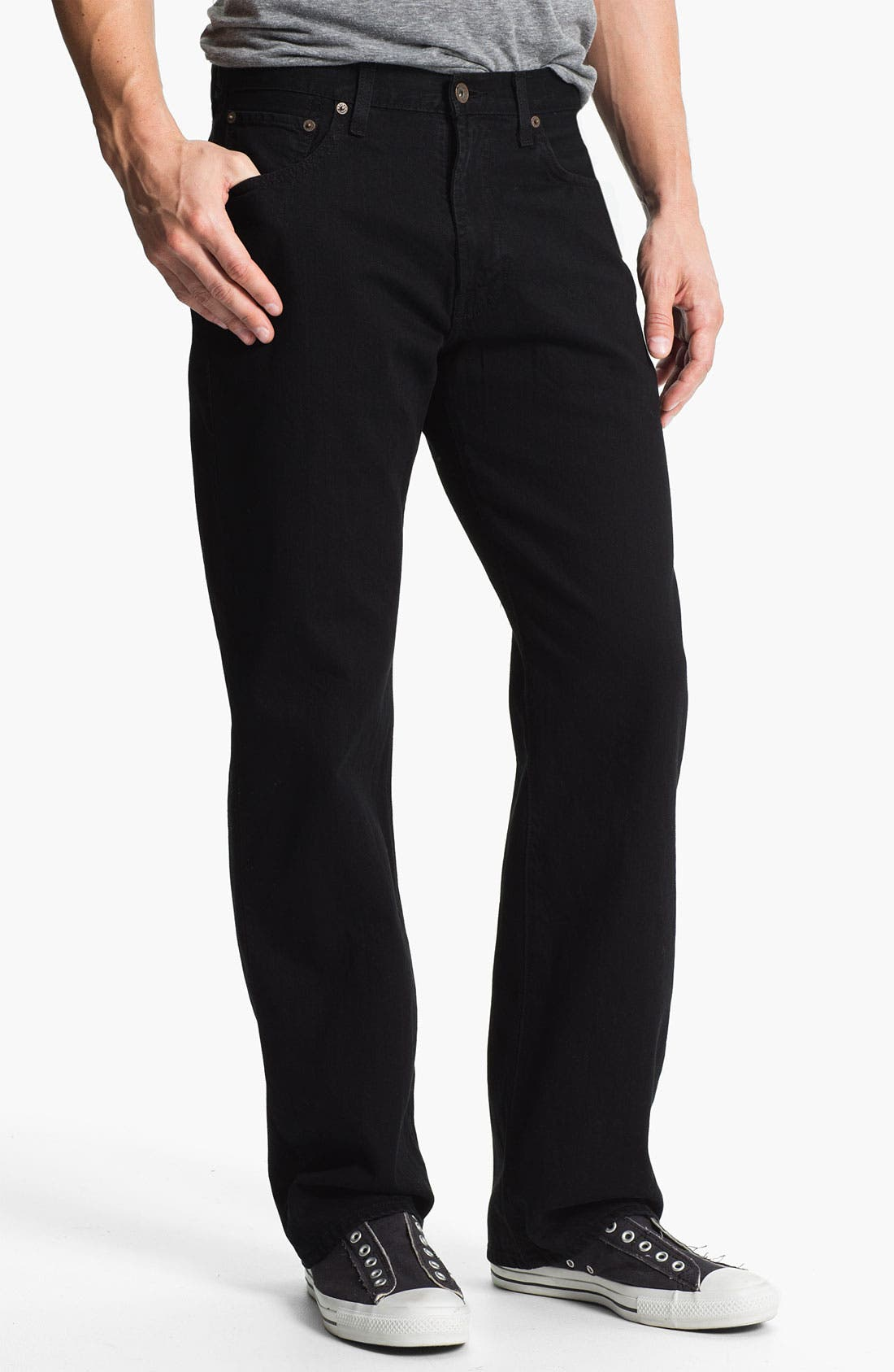 Main Image - Lucky Brand '184' Relaxed Straight Leg Jeans (Jet Black)