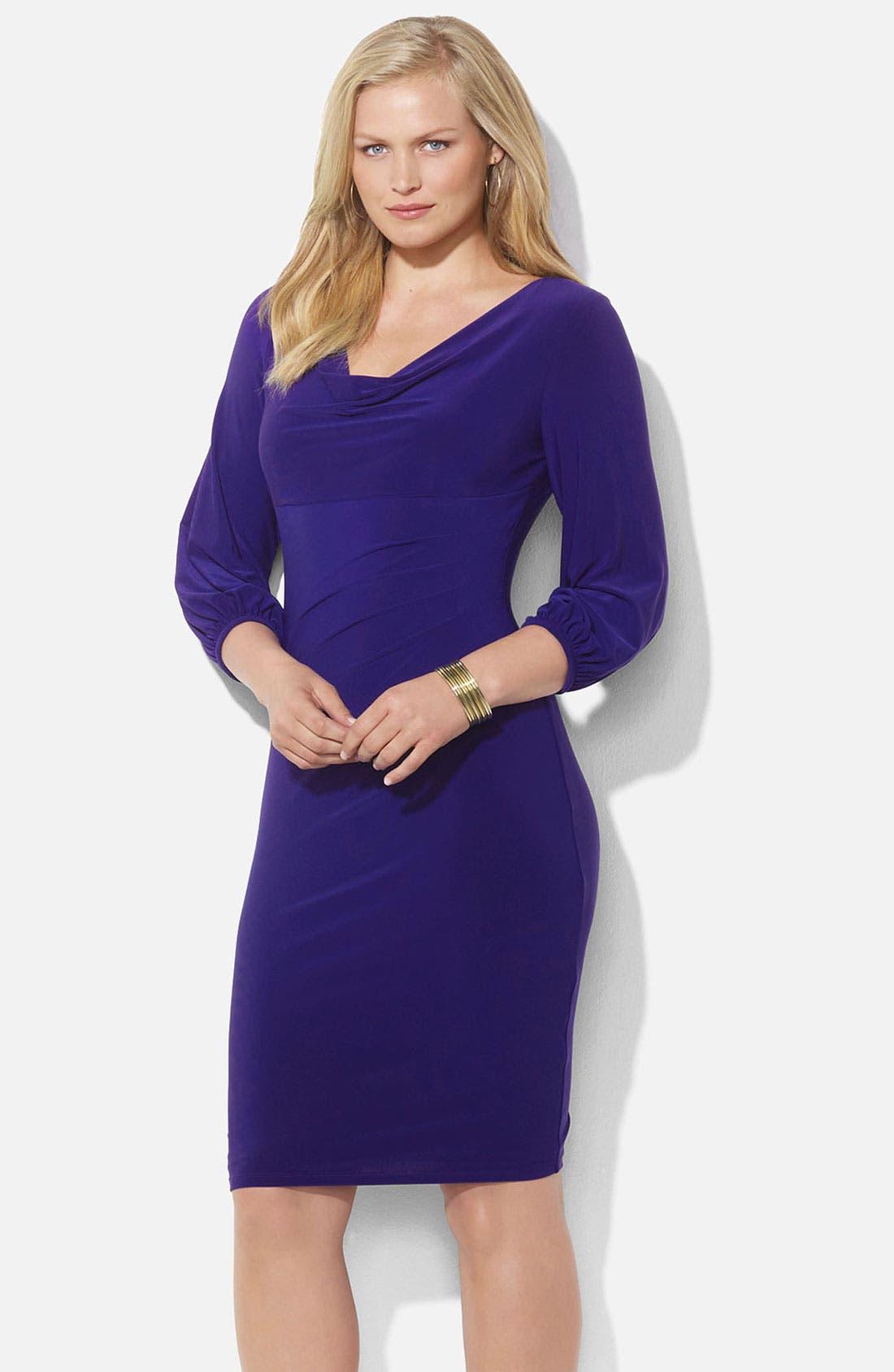 Main Image - Lauren Ralph Lauren Drape Neck Jersey Sheath Dress (Plus)