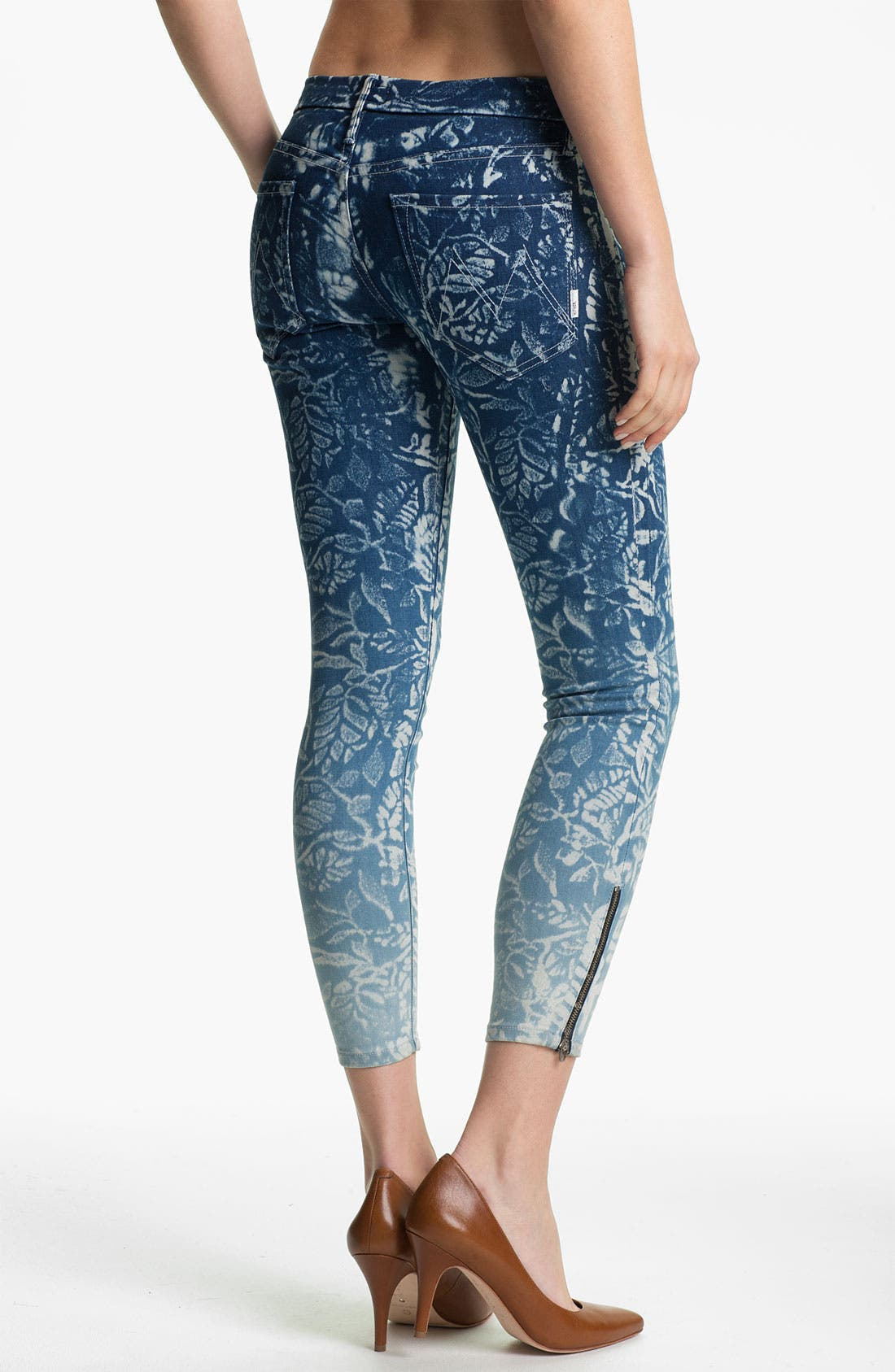 Alternate Image 2  - MOTHER 'The Looker' Print Ankle Zip Skinny Jeans (Flowers in the Forest)